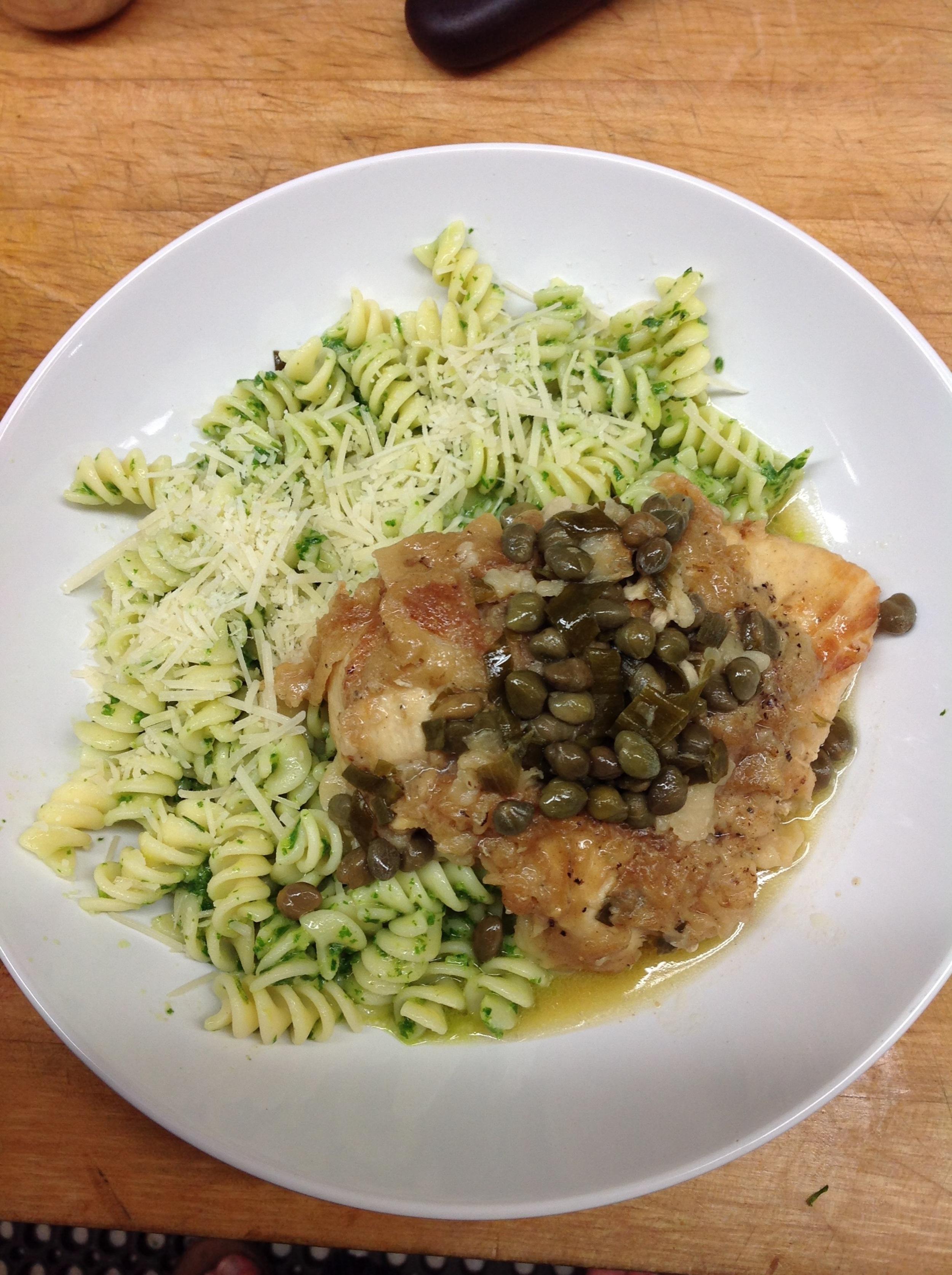 Chicken Piccata with fusilli pesto