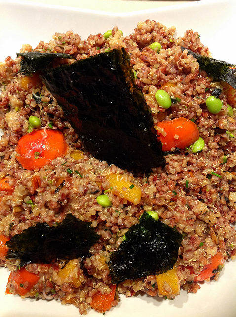 Red Rice and Fuyu Salad with Seaweed