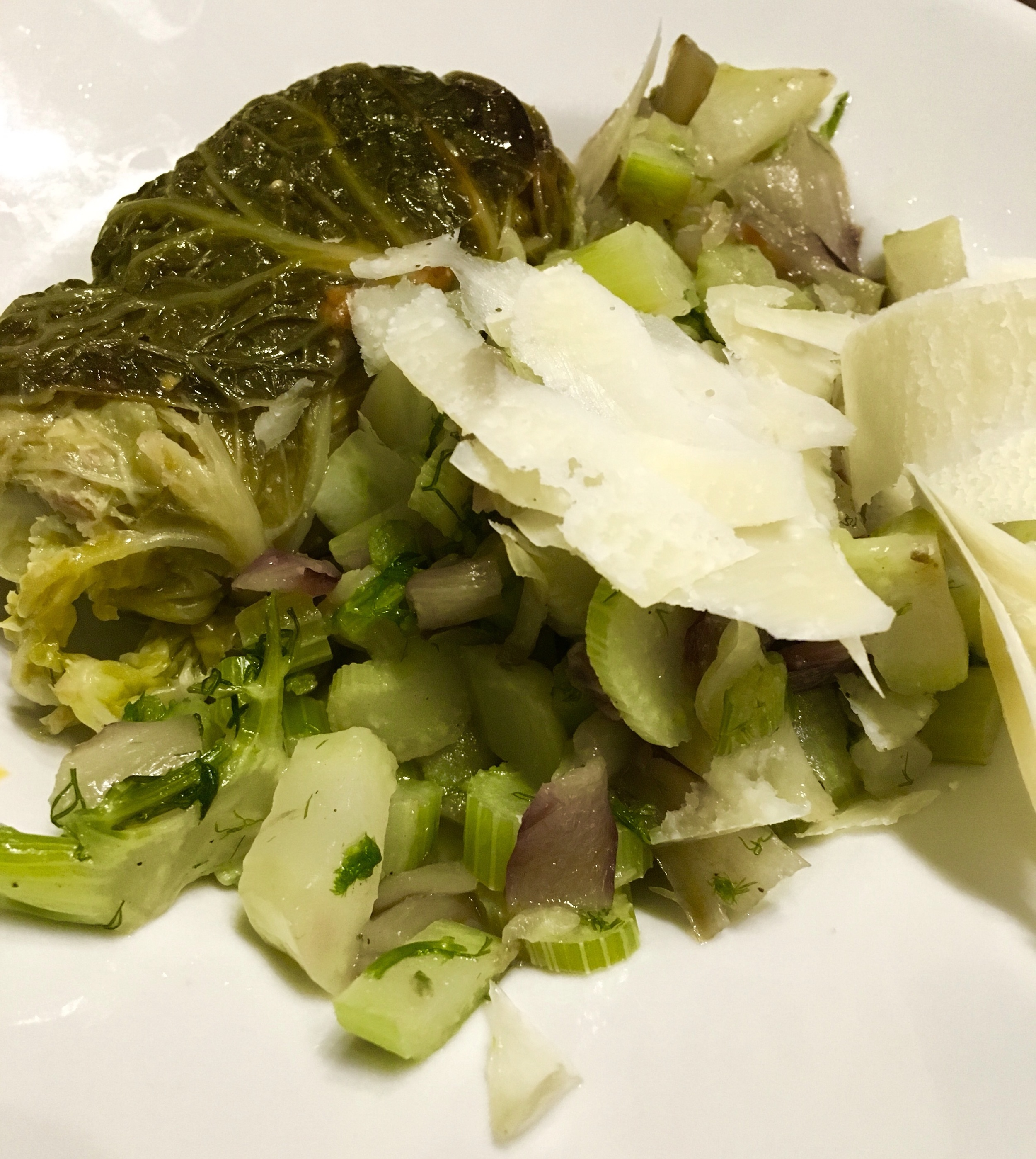 Pork filled cabbage roll with braised fennel and treviso
