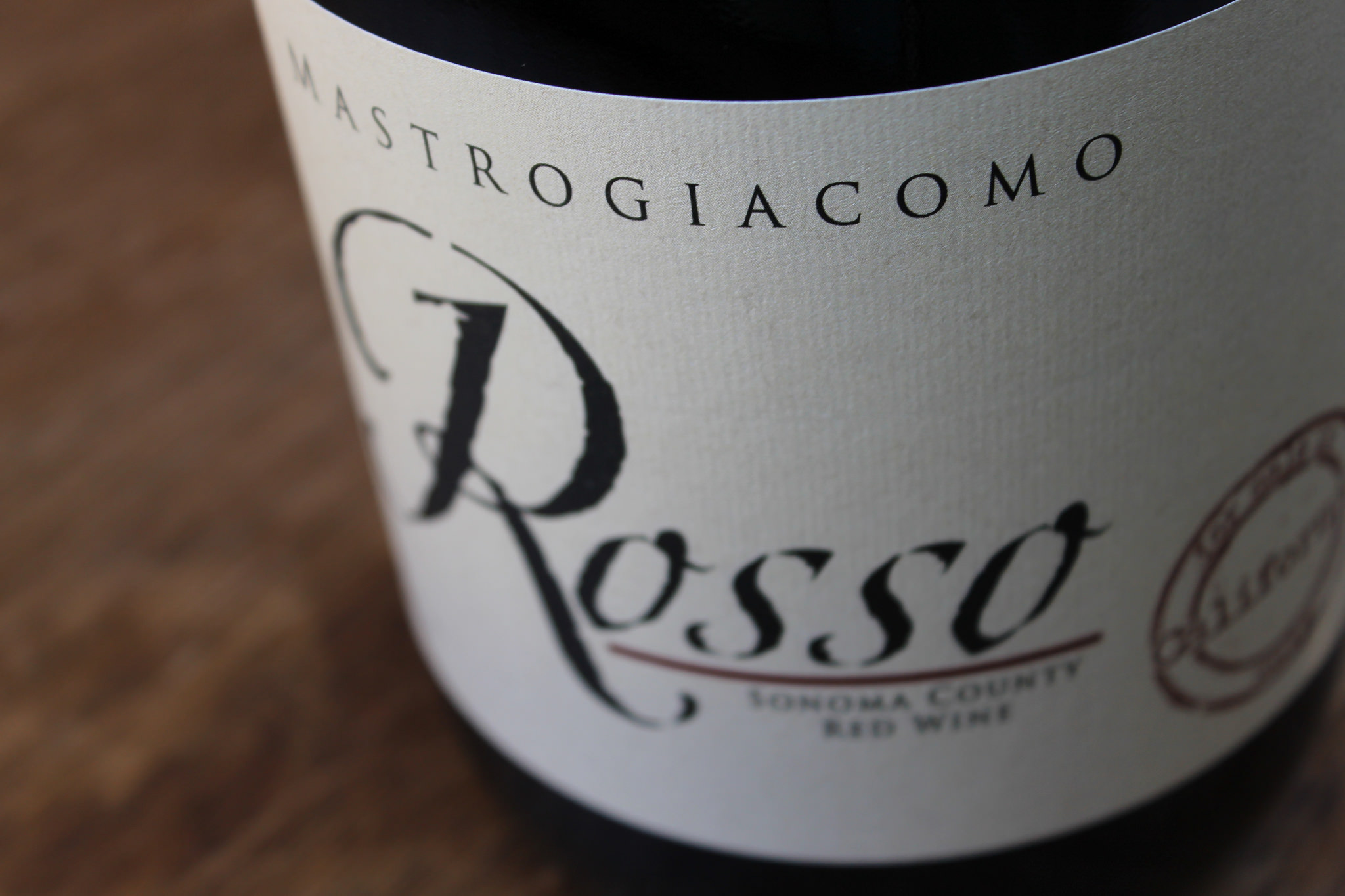 My Mastrogiacomo Rosso is a Sonoma County product, filled with top quality, hand-picked fruit.