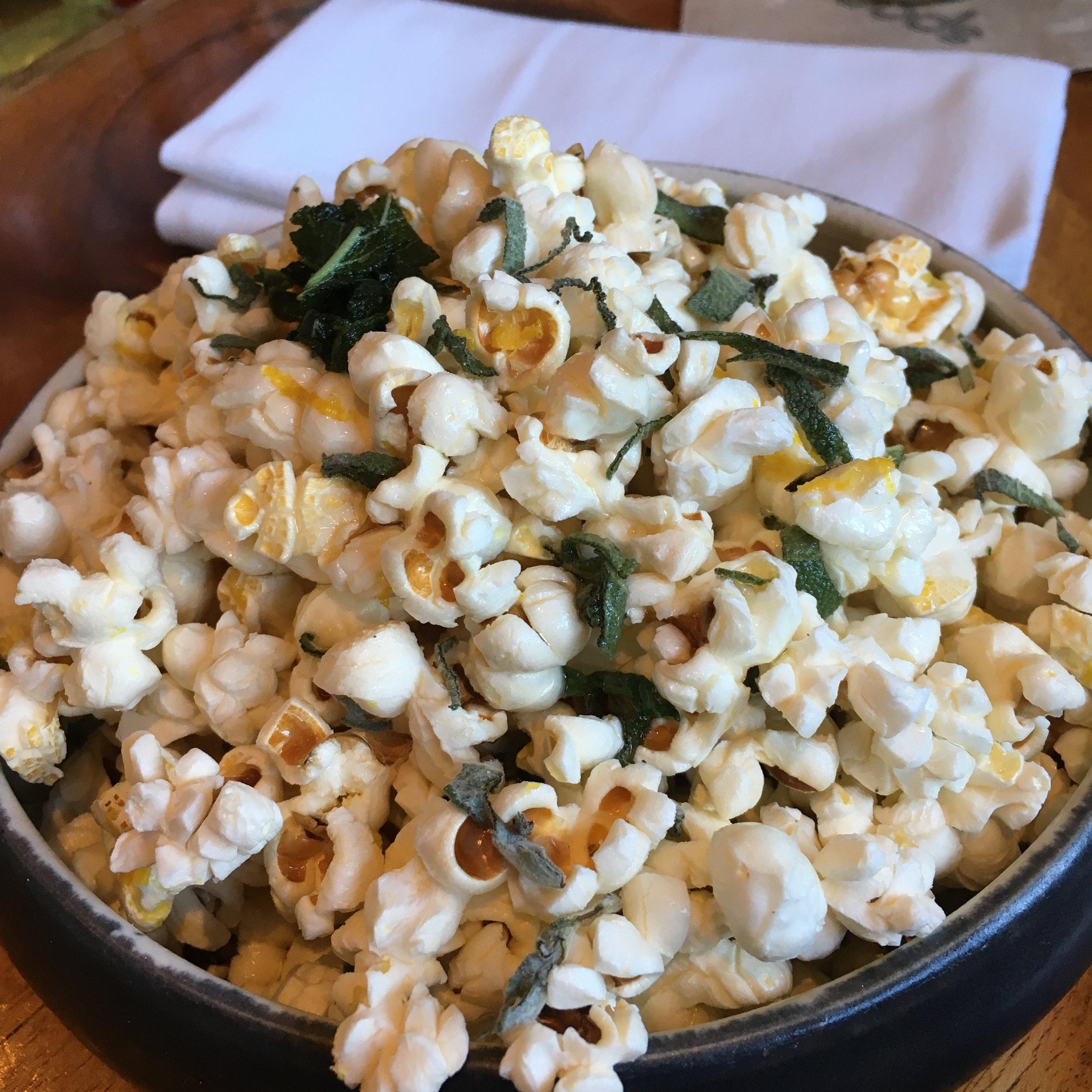 Duck fat popcorn with sage at Spoonbar