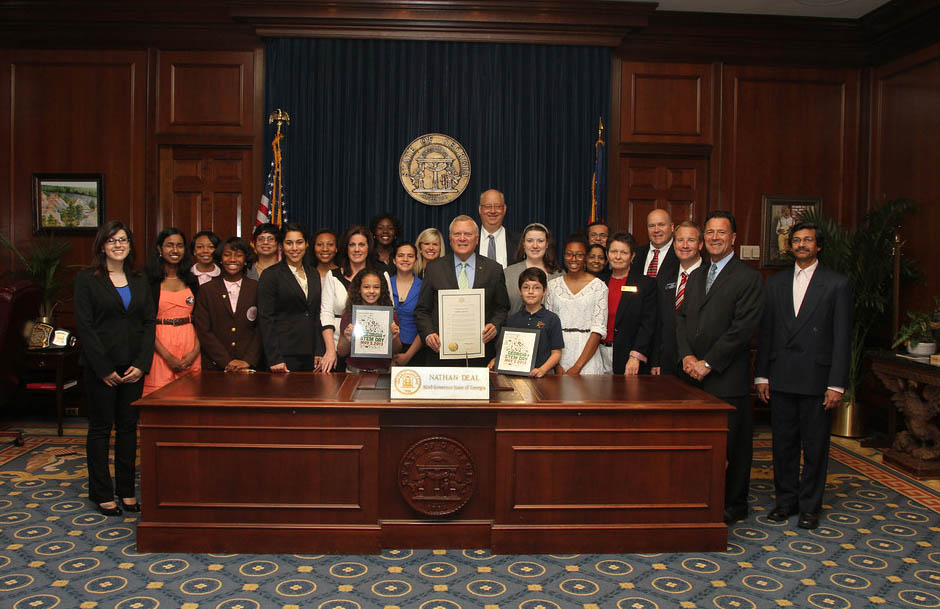 The TAG-Ed staff and some of our star students with former Georgia governor Nathan Deal.