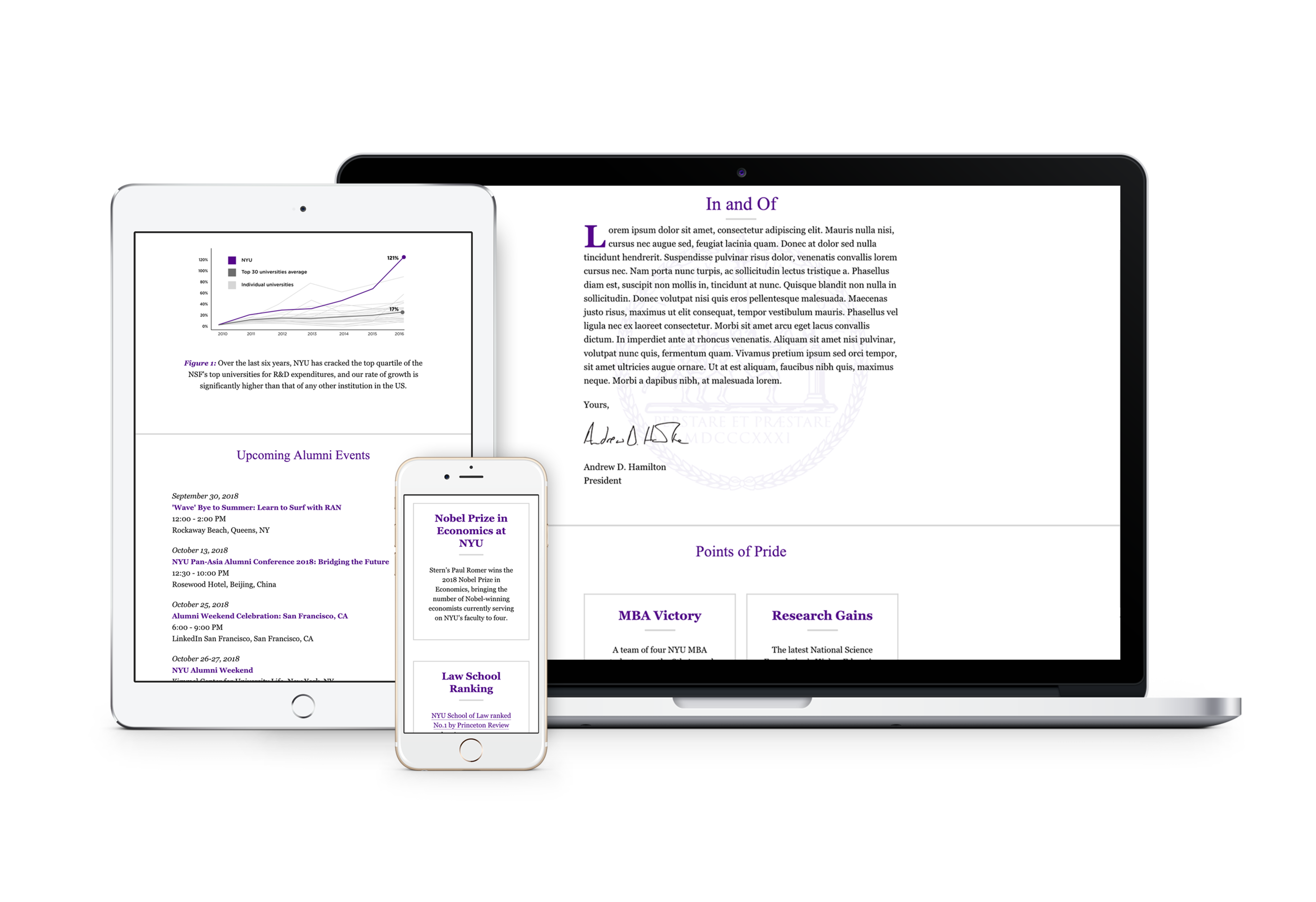 Laptop, tablet, and mobile view of  In and Of  - an executive communication for NYU.