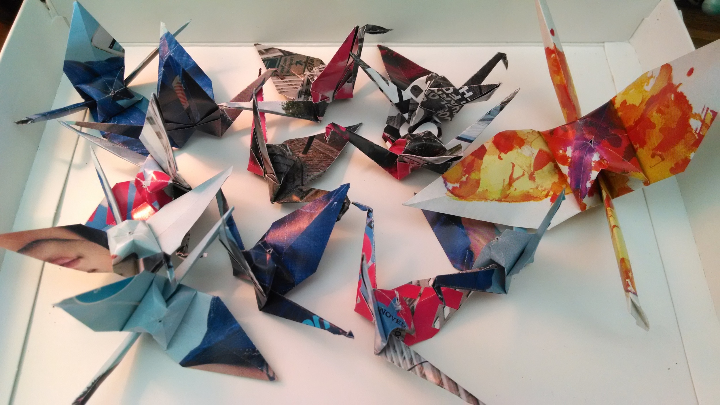 Magazine paper cranes for Drue Salon commission