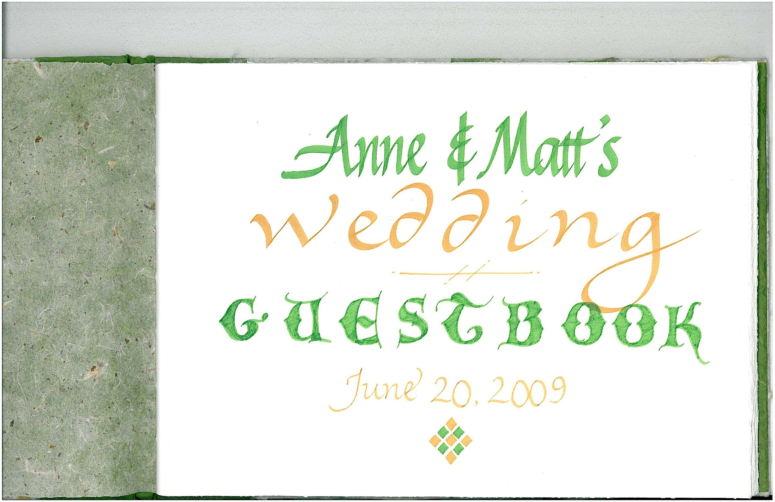 Commissioned handmade wedding guestbook