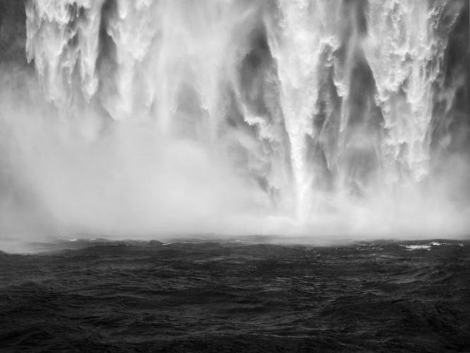 Edward Burtynsky's  Skogar waterfall series at Flowers Gallery, London