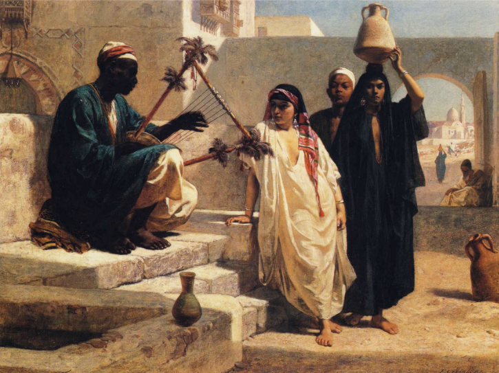 Frederick Goodall, R.A.,  The Song of the Nubian Slave  1863, Oil on canvas,