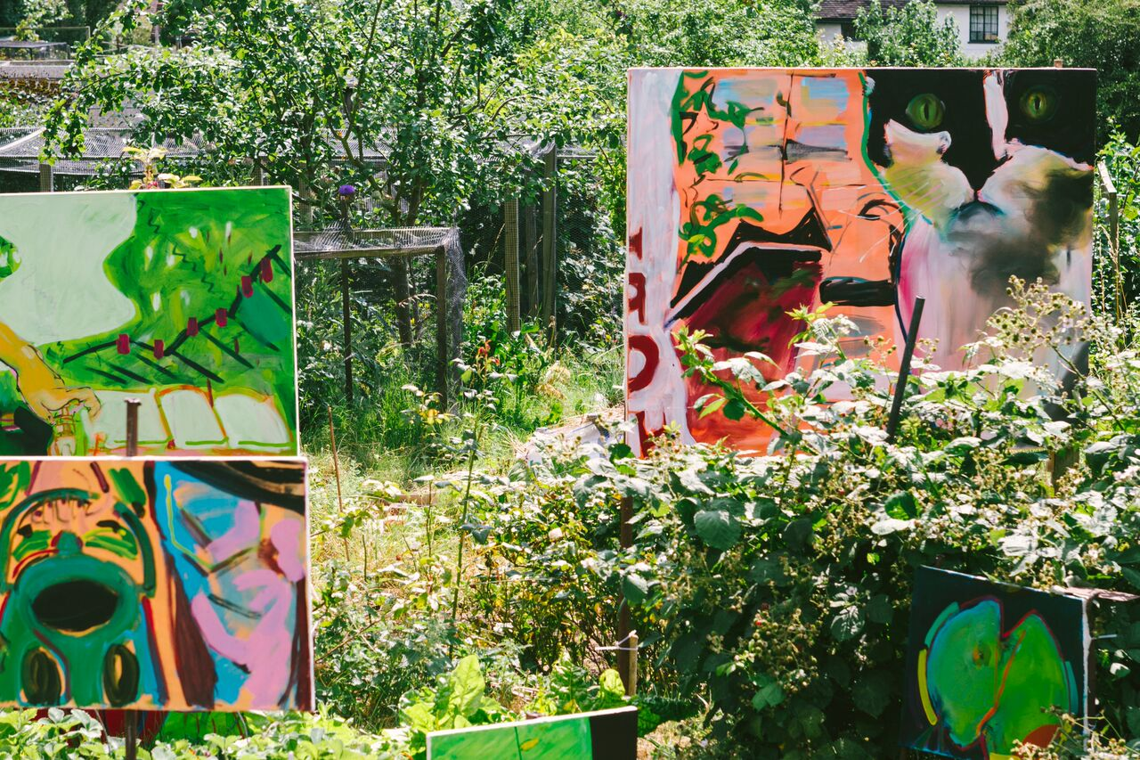 Lucy Evetts on Margaret's plot  Sally and Bill  2016 (painted over a week whilst on the allotment)