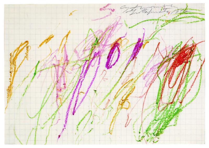 Cy Twombly,  Sans titre (Grottaferrata)  , (1957). @Cy Twombly Foundation, ©Galerie Karsten Greve, St. Moritz, Paris, Köln