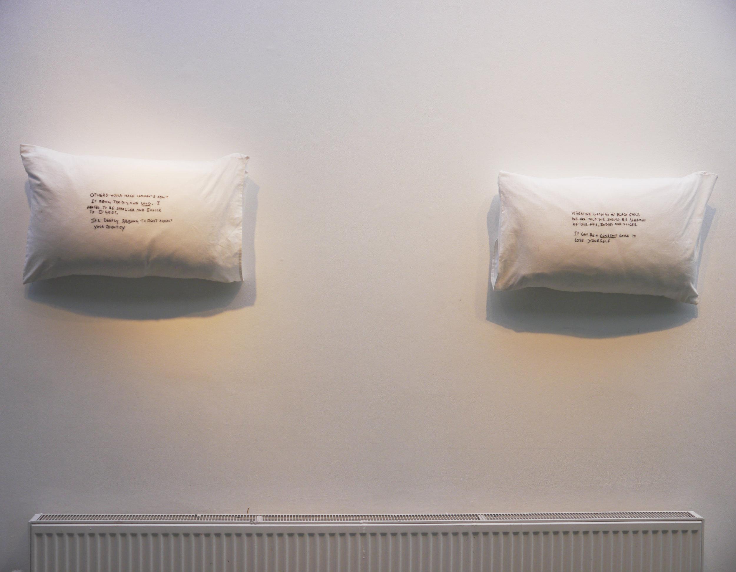 Pillow Talk_Diana Chire_Hair Manifesto_cotton, pillow, thread, human hair.