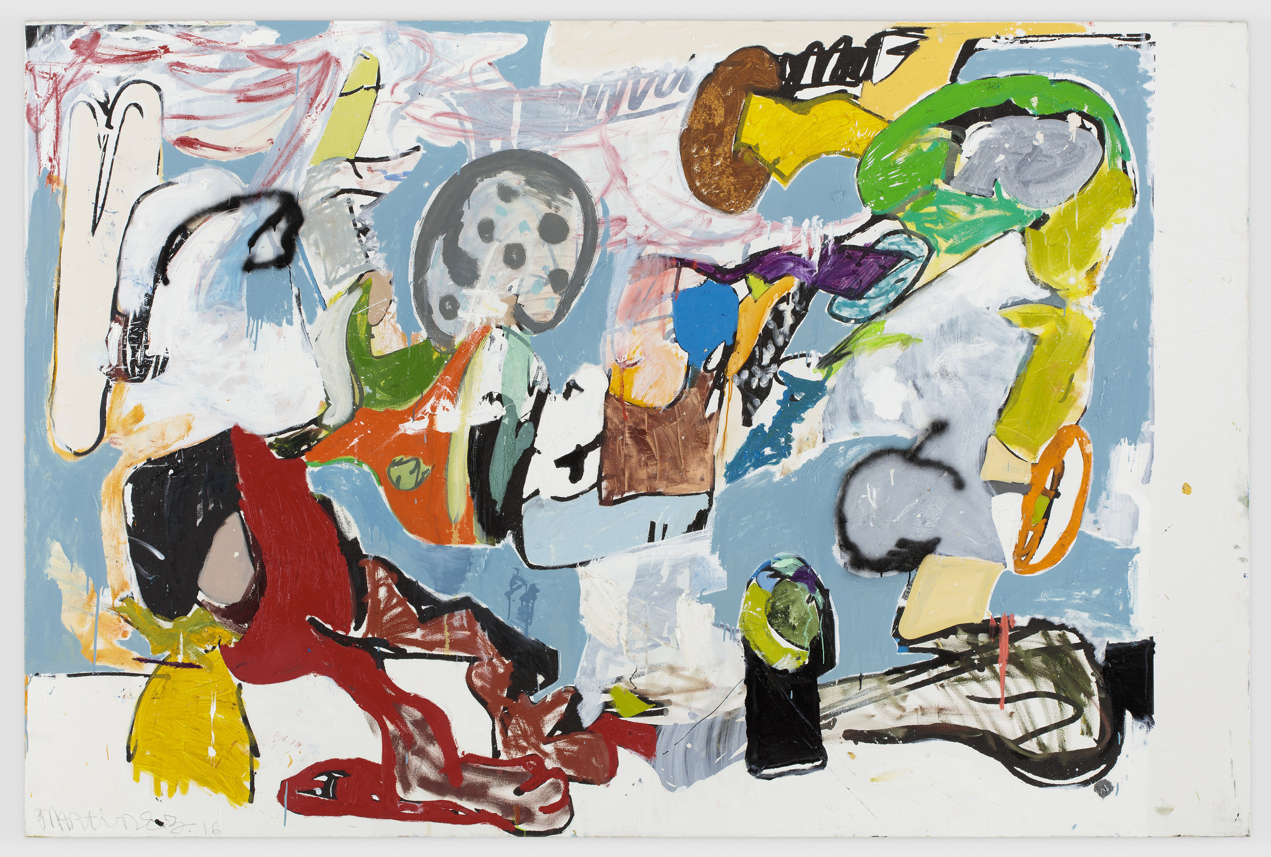 Eddie Martinez, Beach Young, 2016, Silkscreen ink, oil paint, spray paint, enamel and graphite on canvas 182.9 x 274.3 cm© Eddie Martinez. Courtesy Timothy Taylor