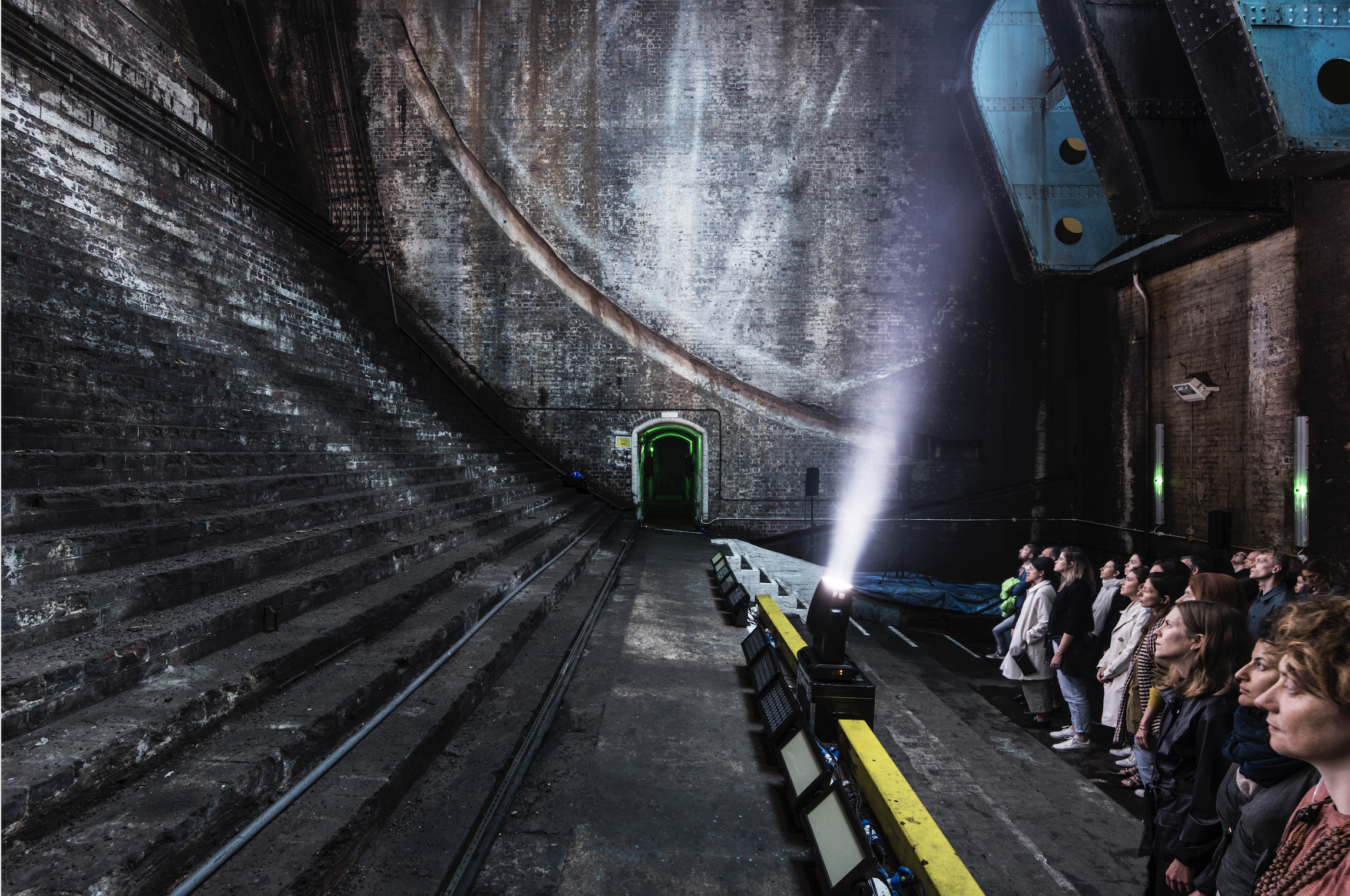 Ian Whittlesea, Becoming Invisible (2017) at Bascule Chamber, Tower Bridge. Art Night 2017. Photo by Thierry Bal.