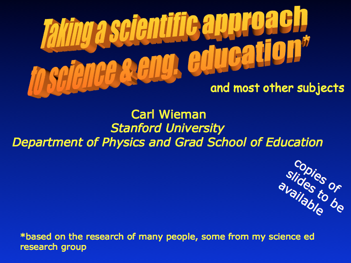Taking a Scientific Approach to Science and Engineering Education