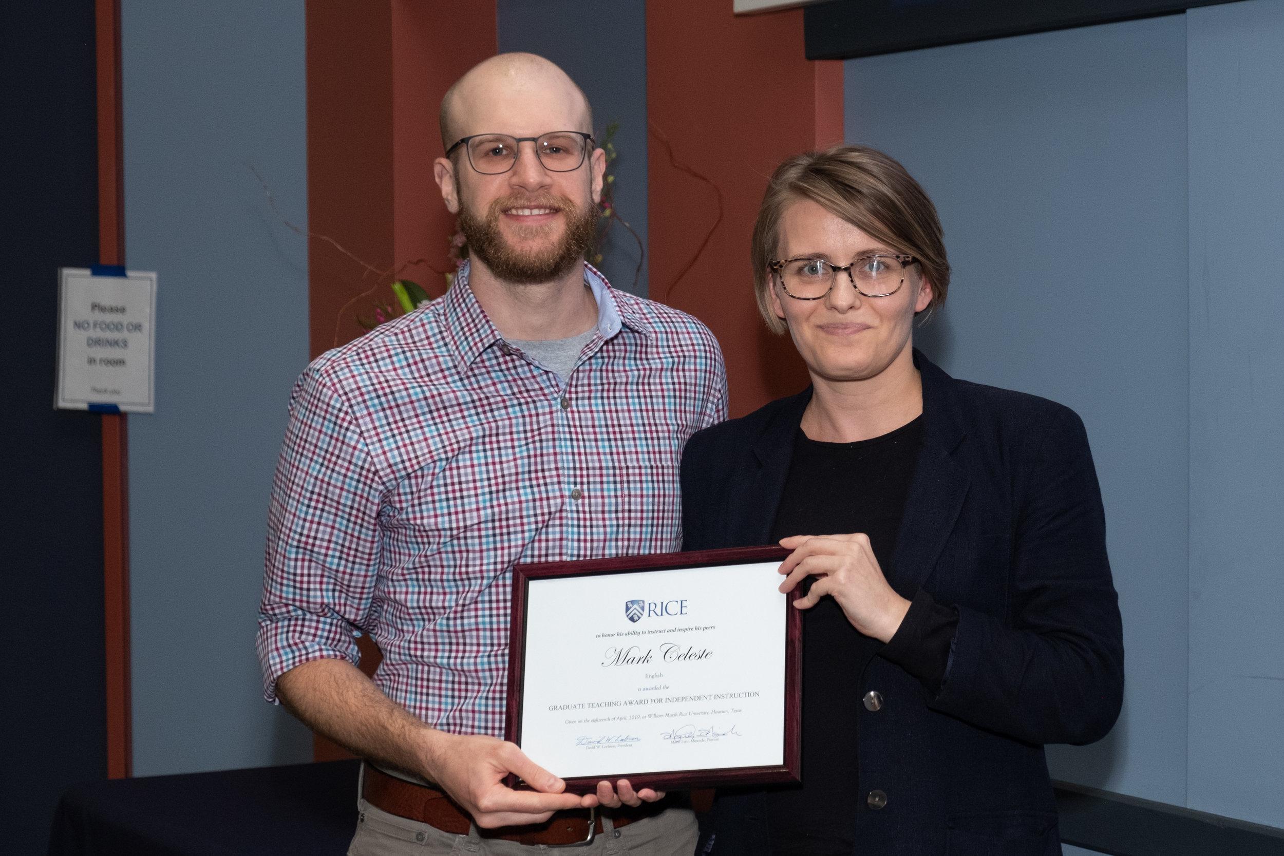 Ania Kowalik, CTE Assistant Director & Mark Celeste, Graduate Teaching Award for Independent Instruction
