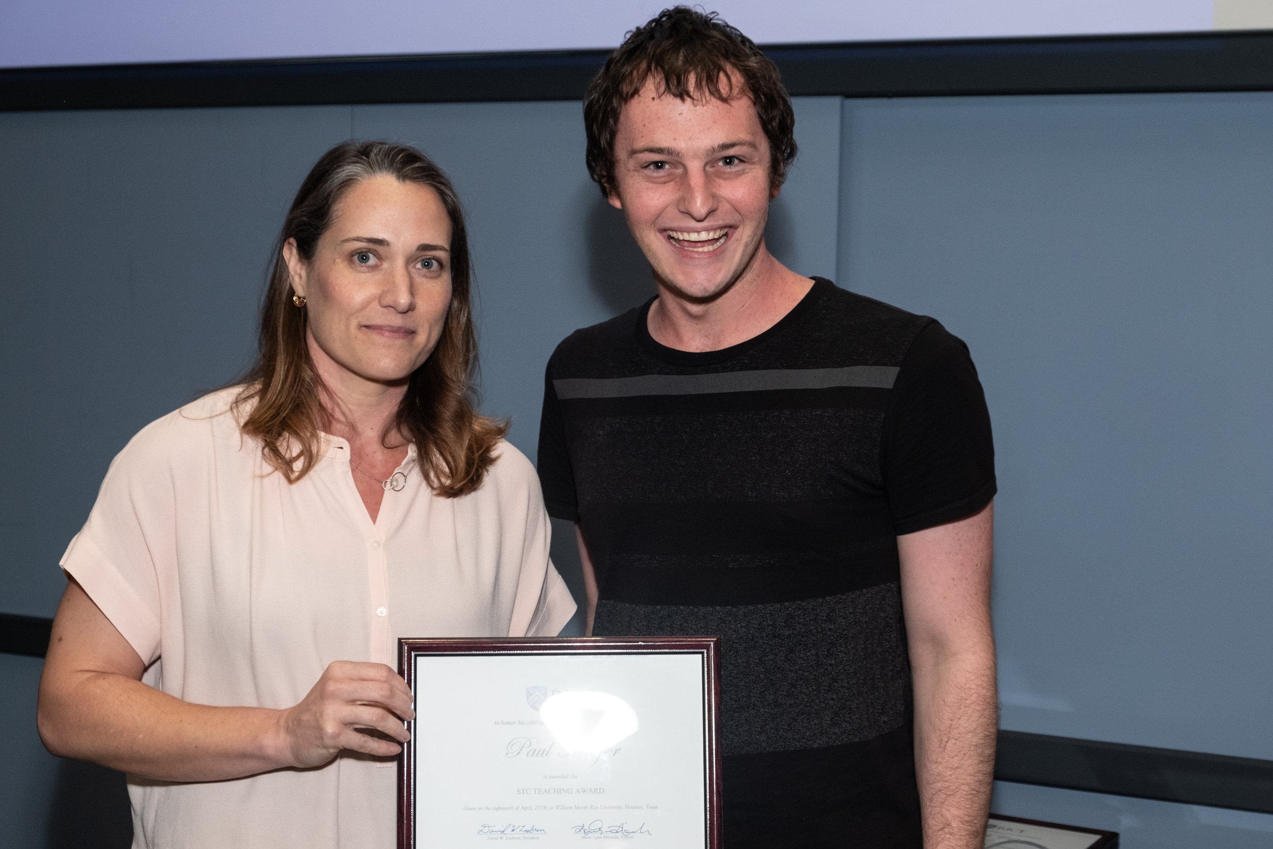 Robin Paige, CTE Senior Associate Director & Paul Mayer, STC Teaching Award