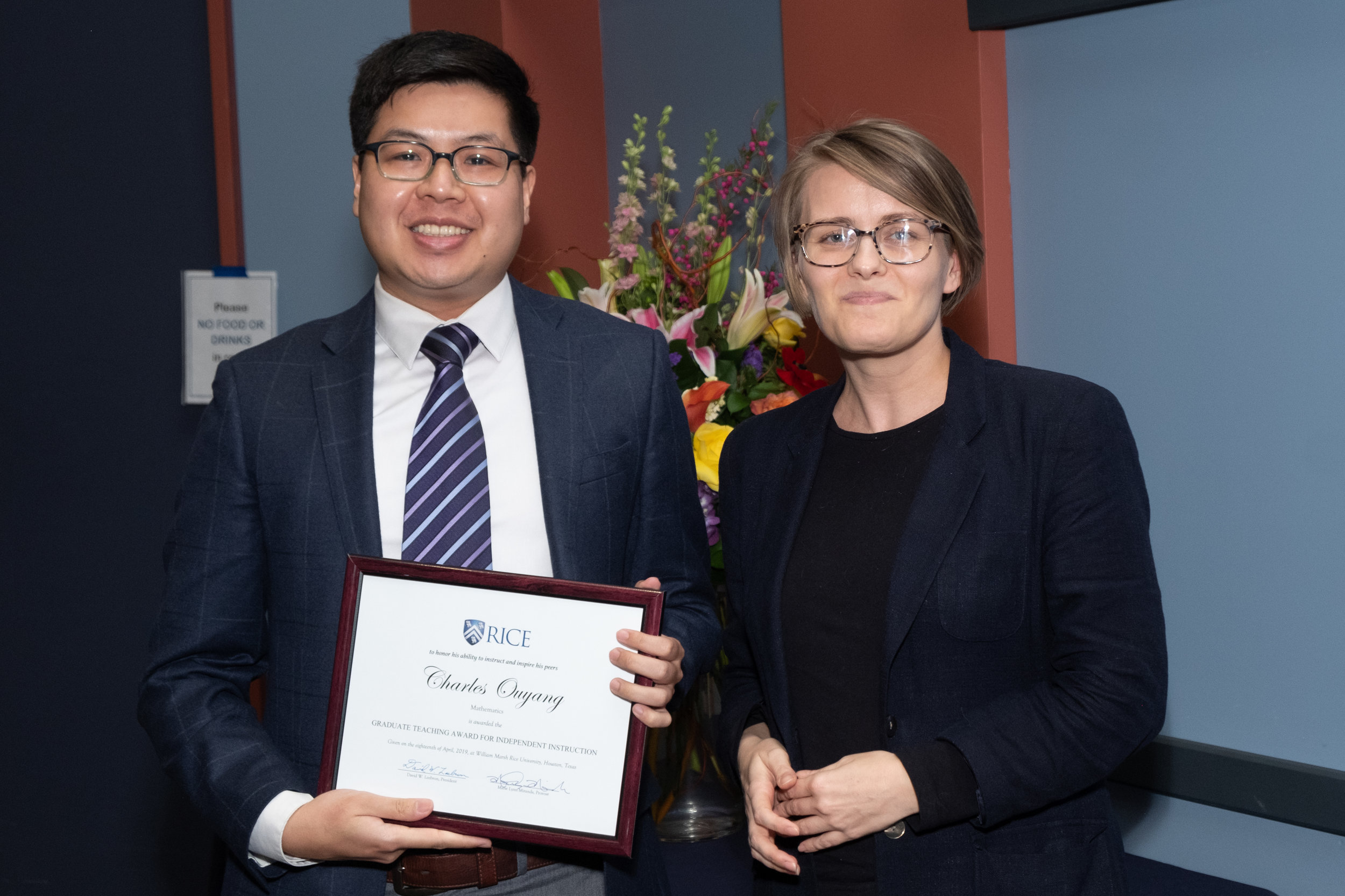 Ania Kowalik, CTE Assistant Director & Charles Ouyang, Graduate Teaching Award for Independent Instruction
