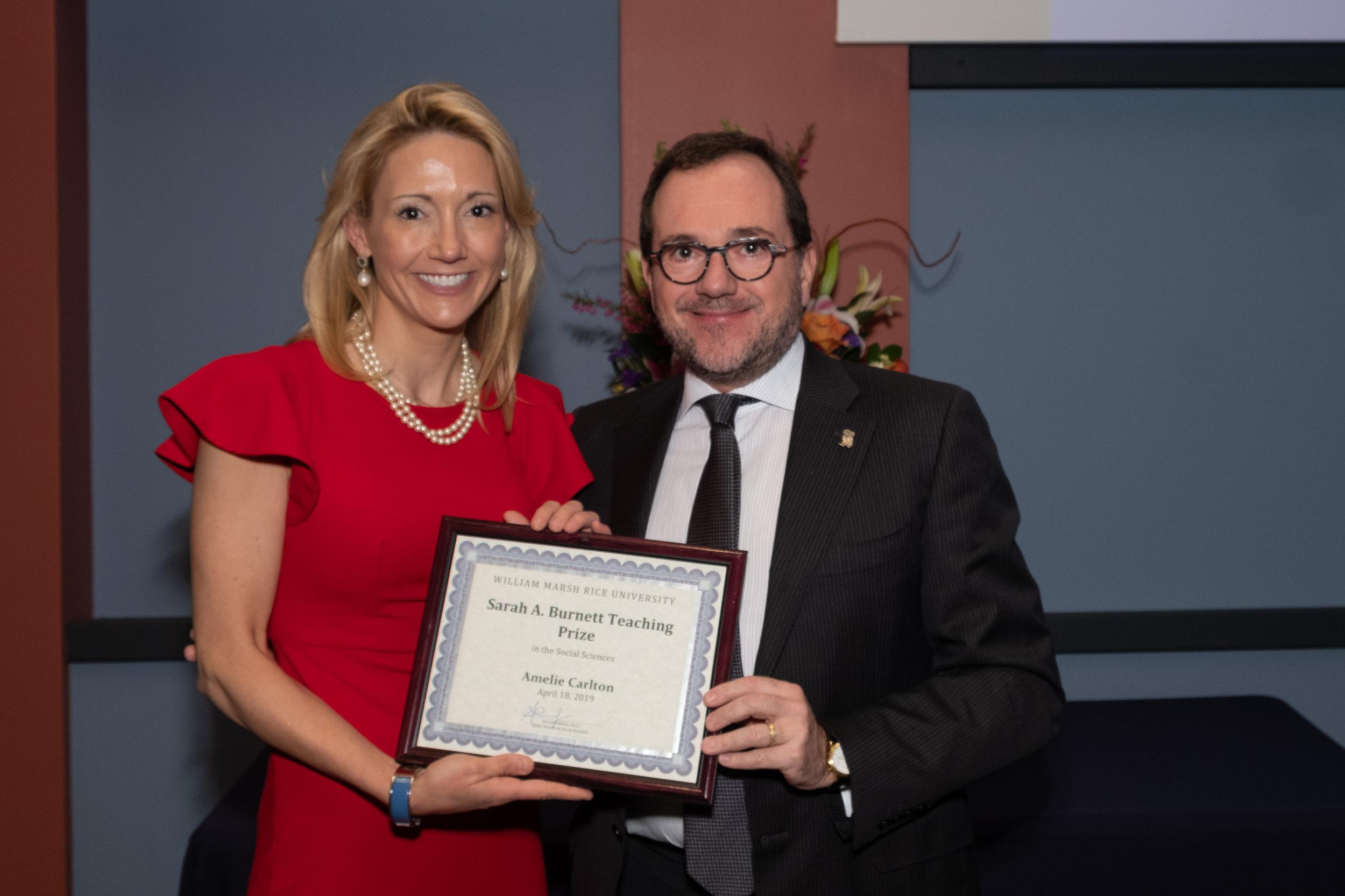 Antonio Merlo, Dean of the School of Social Sciences & Amelie Carlton, Sarah A. Burnett Teaching Prize