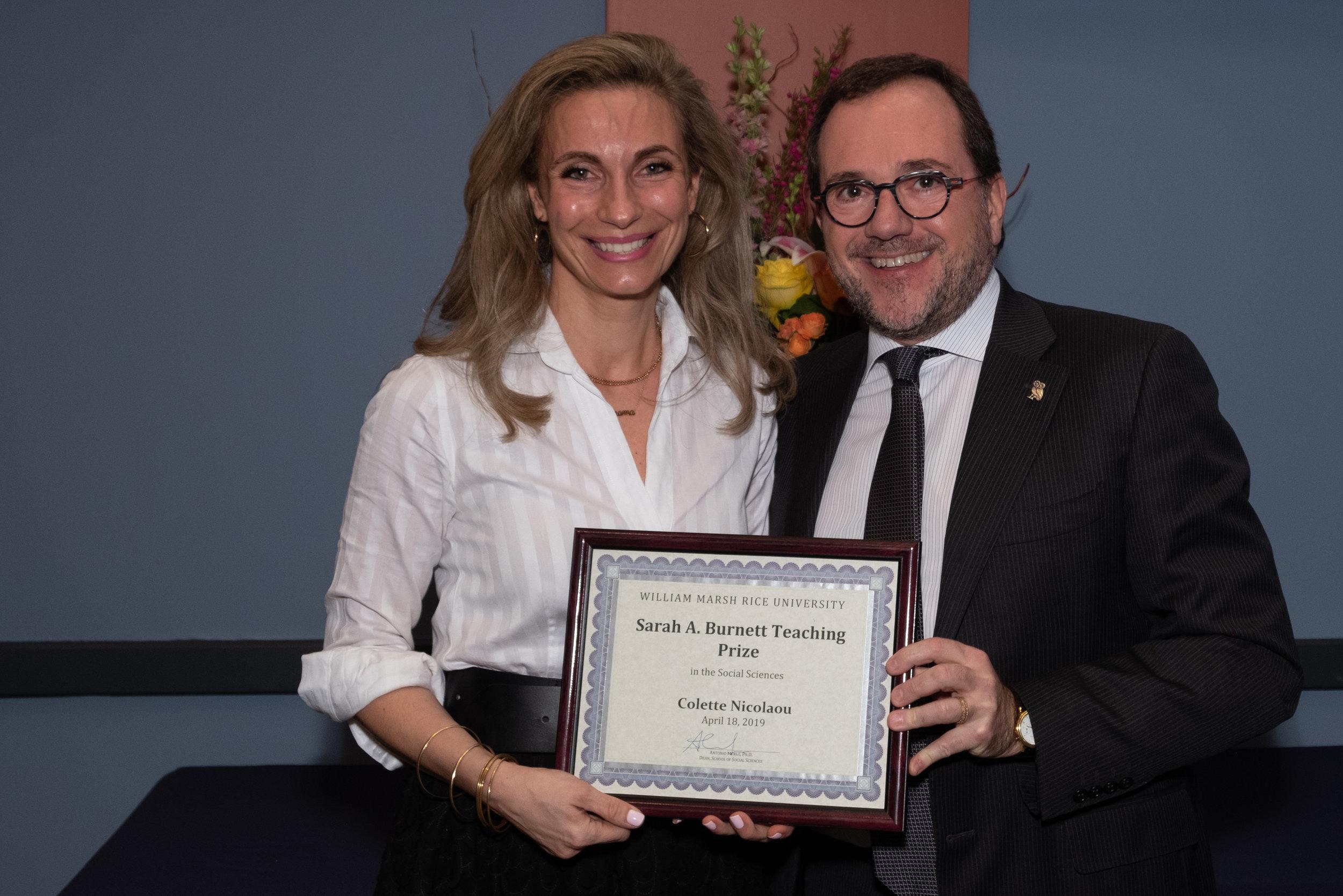 Antonio Merlo, Dean of the School of Social Sciences & Colette Nicolaou, Sarah A. Burnett Teaching Prize