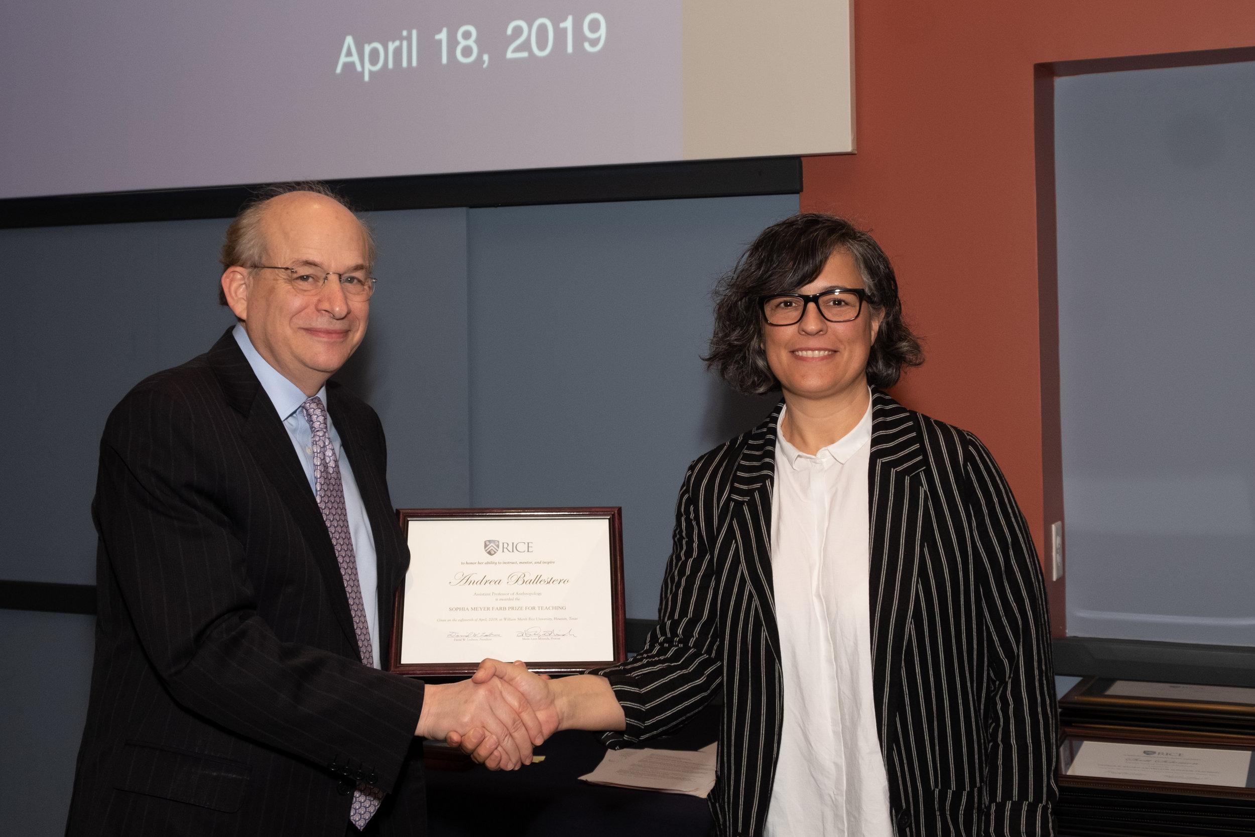 President Leebron & Andrea Ballestero, Sophia Meyer Farb Prize for Teaching (Phi Beta Kappa Teaching Award)