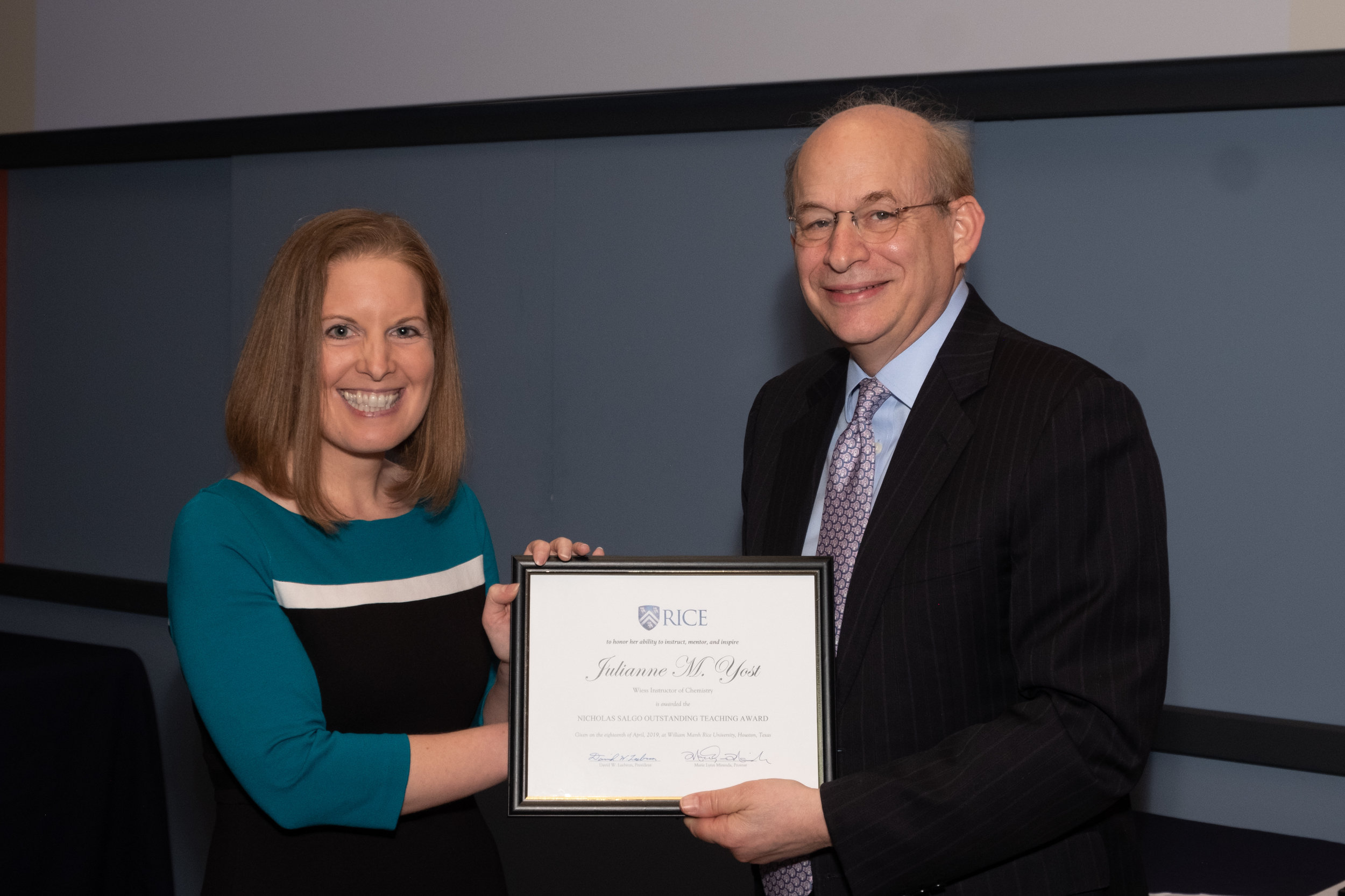 President Leebron & Julianne Yost, Nicolas Salgo Outstanding Teaching Award