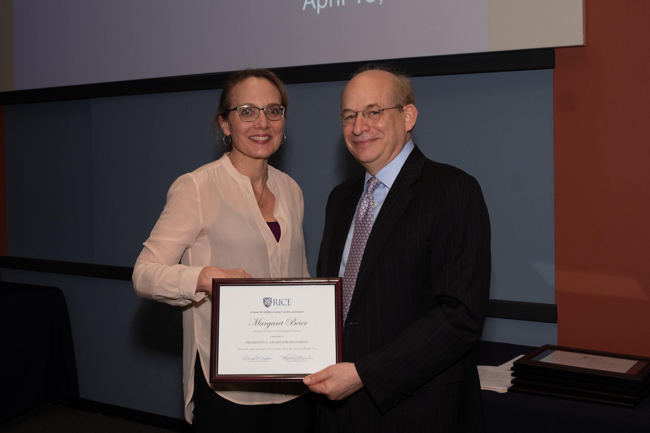 President Leebron & Margaret Beier, Presidential Award for Mentoring