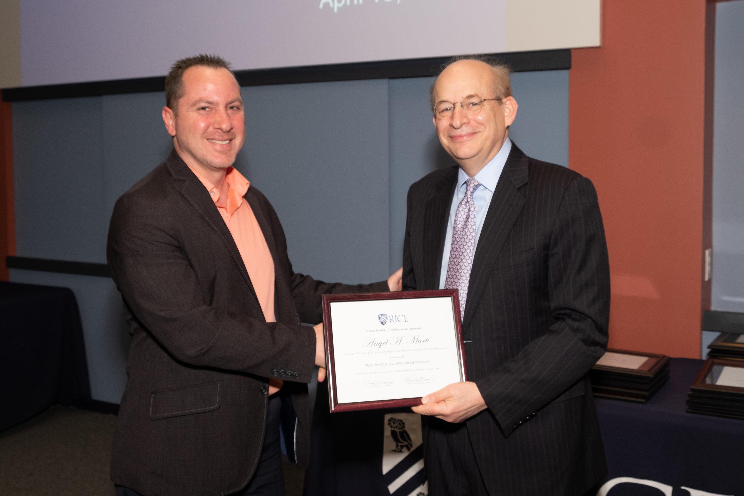 President Leebron & Angel A. Martí, Presidential Award for Mentoring