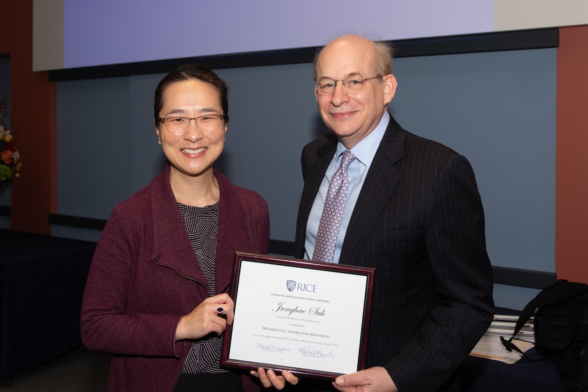 President Leebron & Junghae Suh, Presidential Award for Mentoring