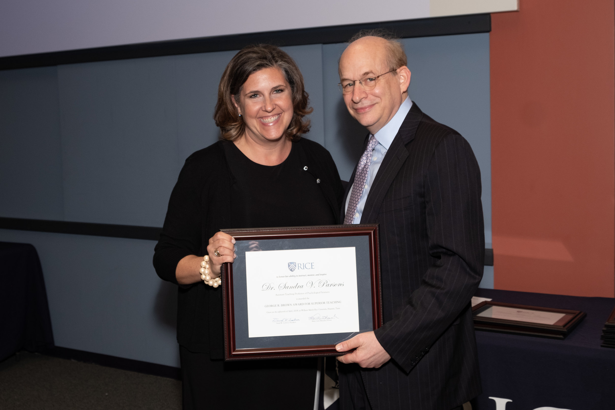 President Leebron & Sandra Parsons, George R. Brown Award for Superior Teaching