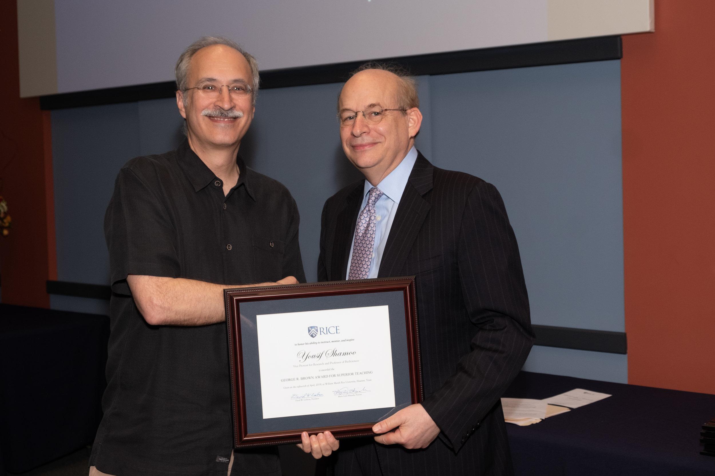 President Leebron & Yousif Shamoo, George R. Brown Award for Superior Teaching