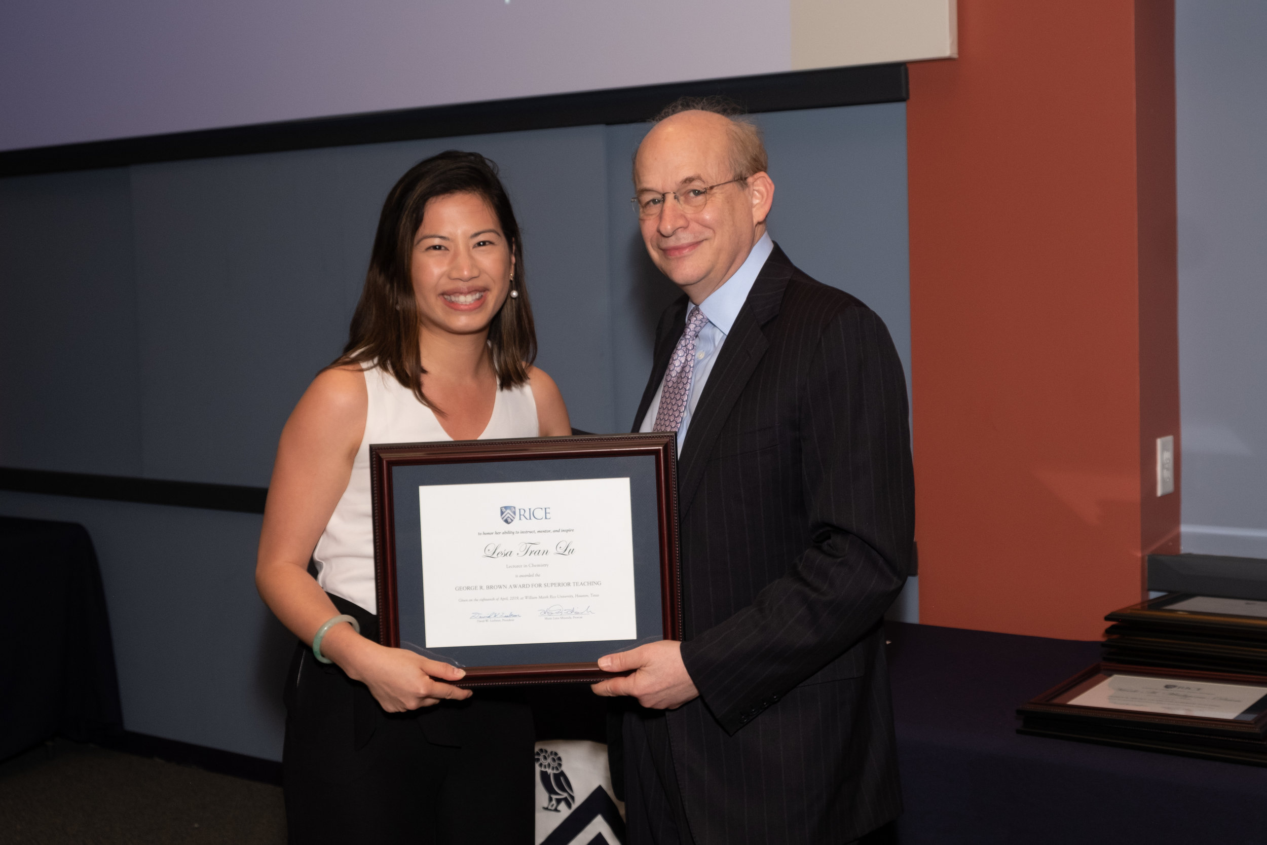 President Leebron & Lesa Tran Lu, George R. Brown Award for Superior Teaching