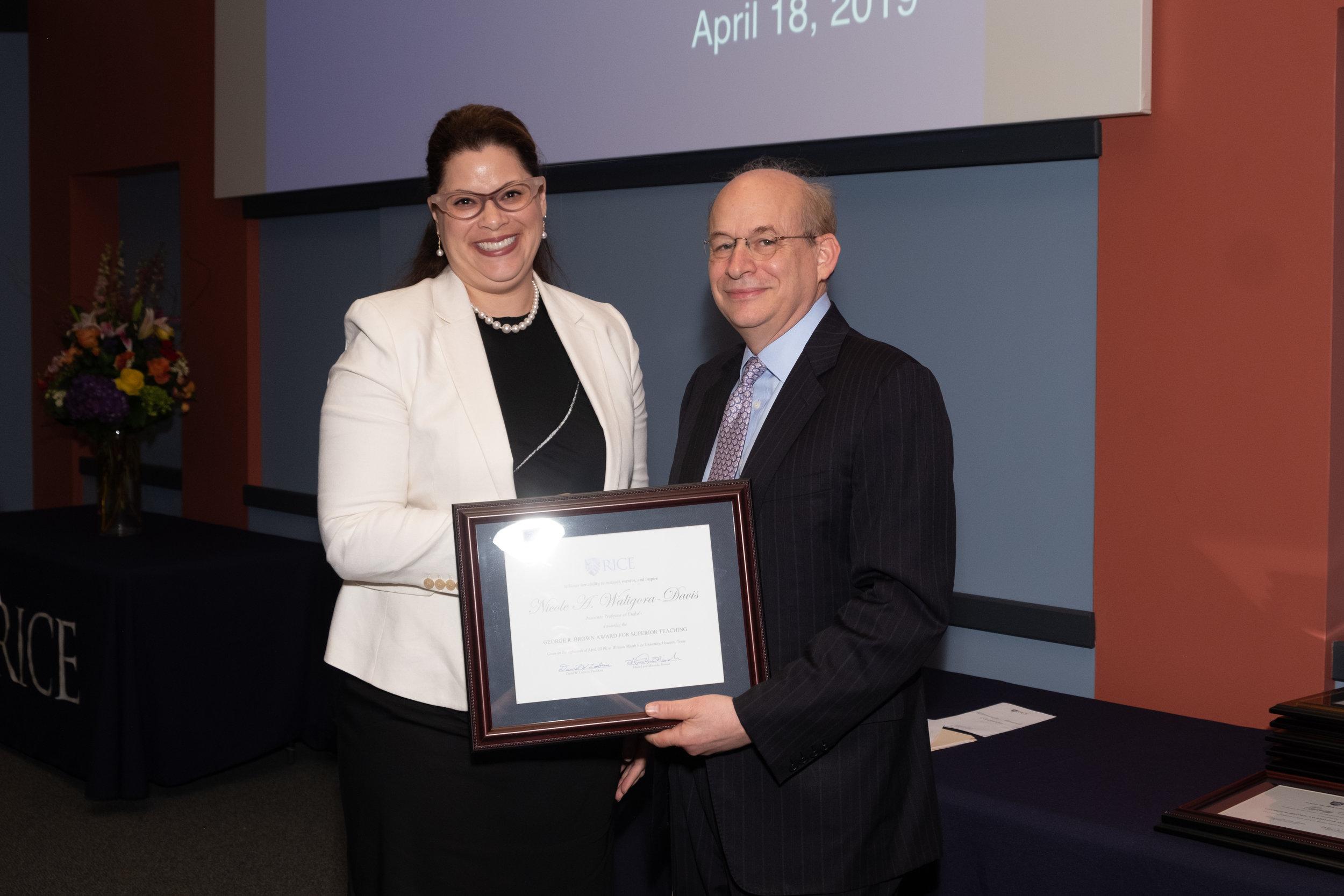 President Leebron & Nicole Waligora-Davis, George R. Brown Award for Superior Teaching