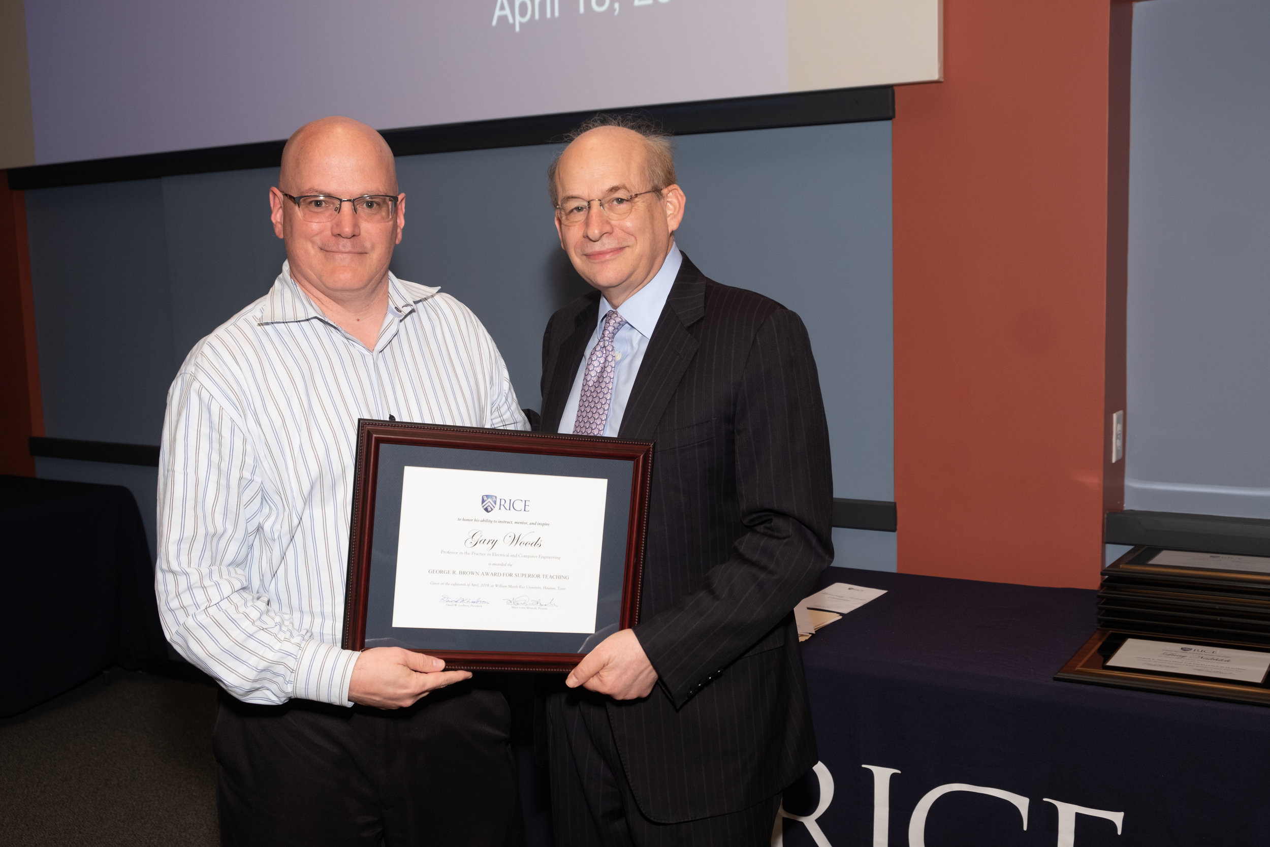 President Leebron & Gary Woods, George R. Brown Award for Superior Teaching