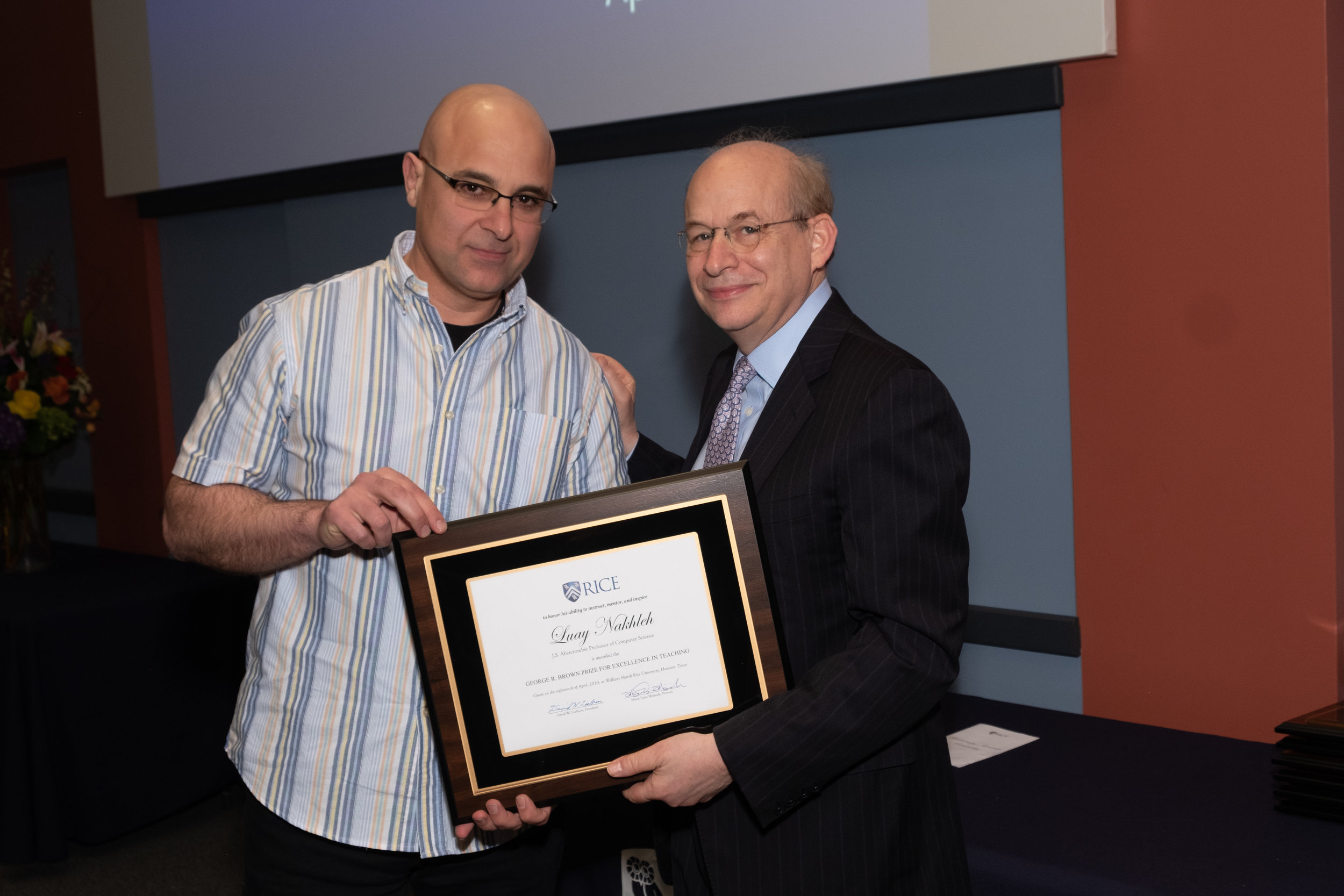 President Leebron & Luay Nakhleh, George R. Brown Prize for Excellence in Teaching