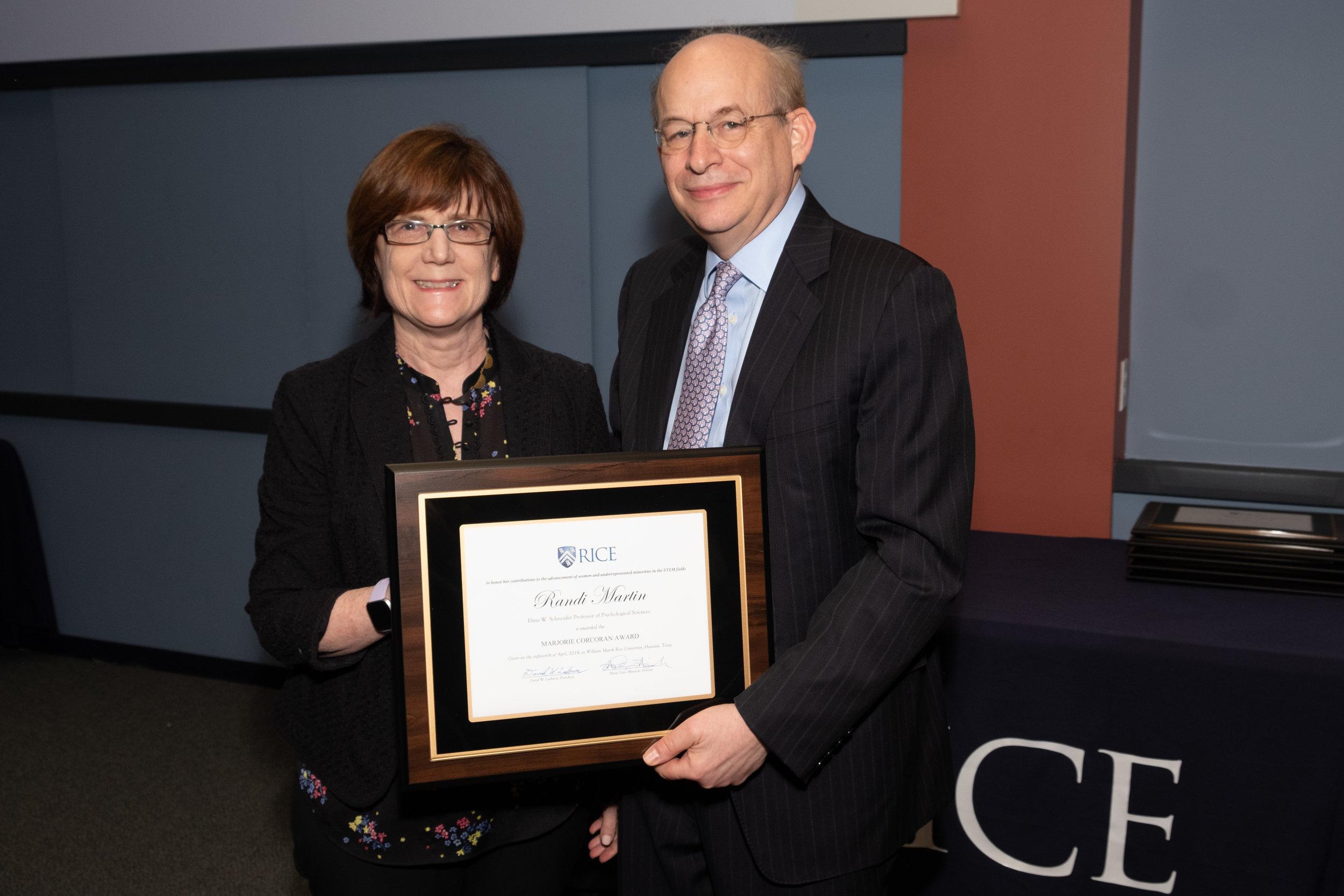 President Leebron & Randi Martin, Marjorie Corcoran Award
