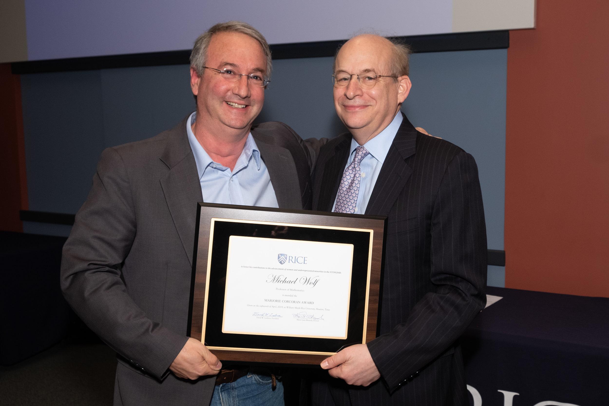 President Leebron & Michael Wolf, Marjorie Corcoran Award