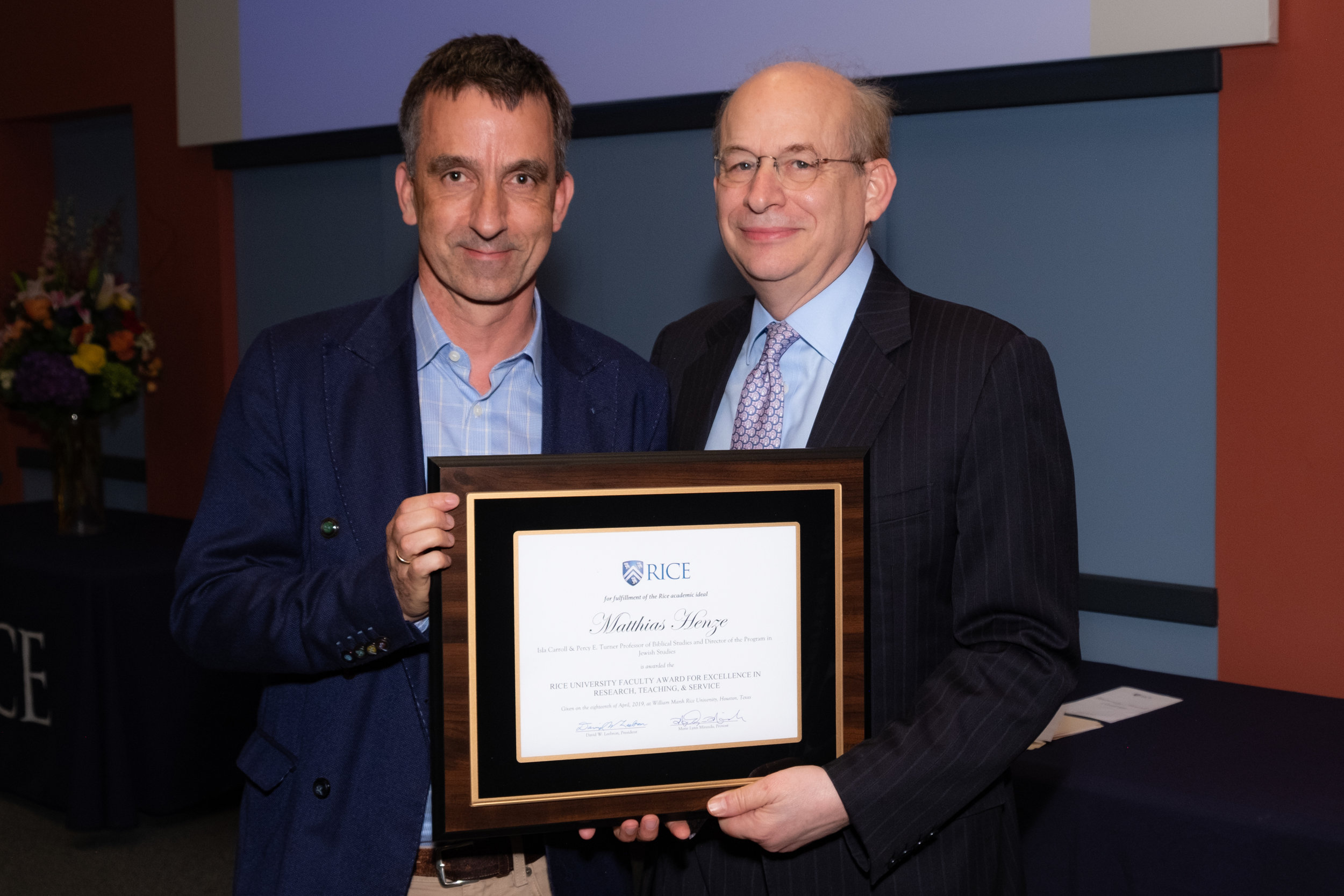 President Leebron & Matthias Henze, Rice University Faculty Award for Excellence in Research, Teaching, and Service