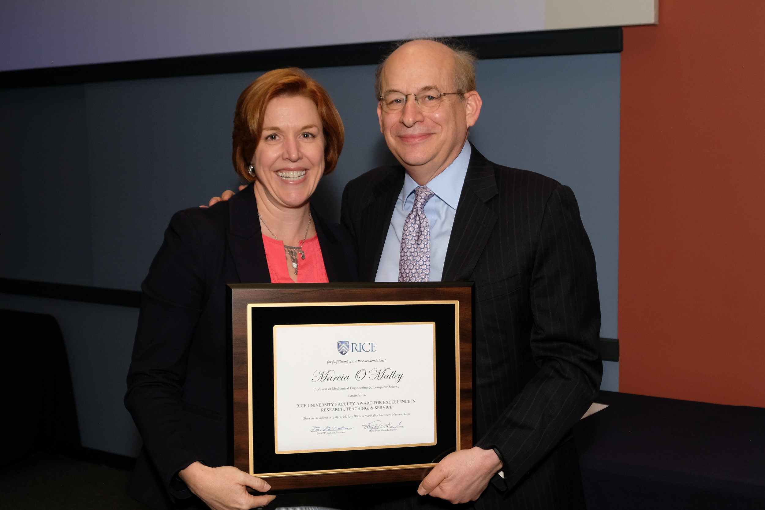 President Leebron & Marcia O'Malley, Rice University Faculty Award for Excellence in Research, Teaching, and Service