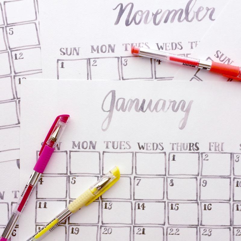 Emily Rose Ink Printable Calendar