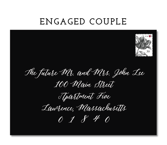 """*THIS OPTION SHOULD BE USED IF THE WOMAN WILL BE TAKING HER HUSBAND'S LAST NAME.IF SHE WILL BE KEEPING HER MAIDEN NAME,THE COUPLE CAN BE LISTED AS """"THE FUTURE MR. JOHN LEE AND MRS. EMILY POST"""""""