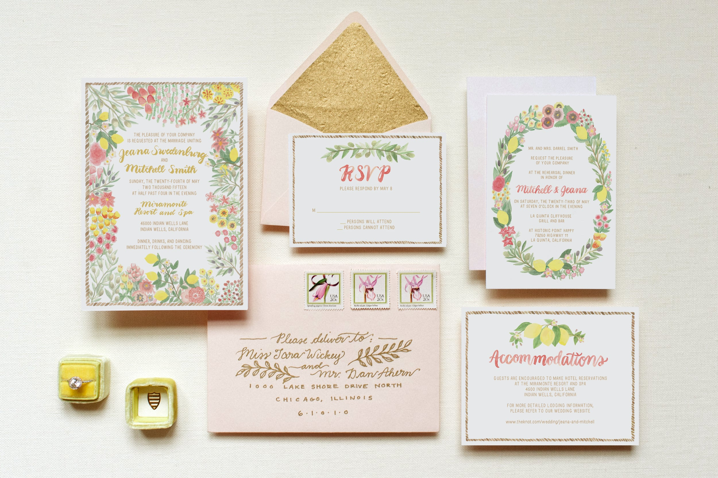 Watercolor floral Mediterranean garden inspired wedding invitations by Emily Rose Ink gold blush