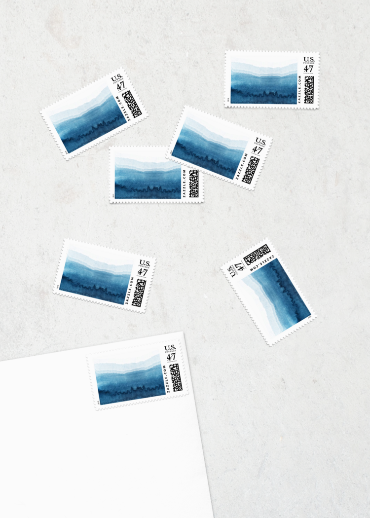 custom postage indigo dip