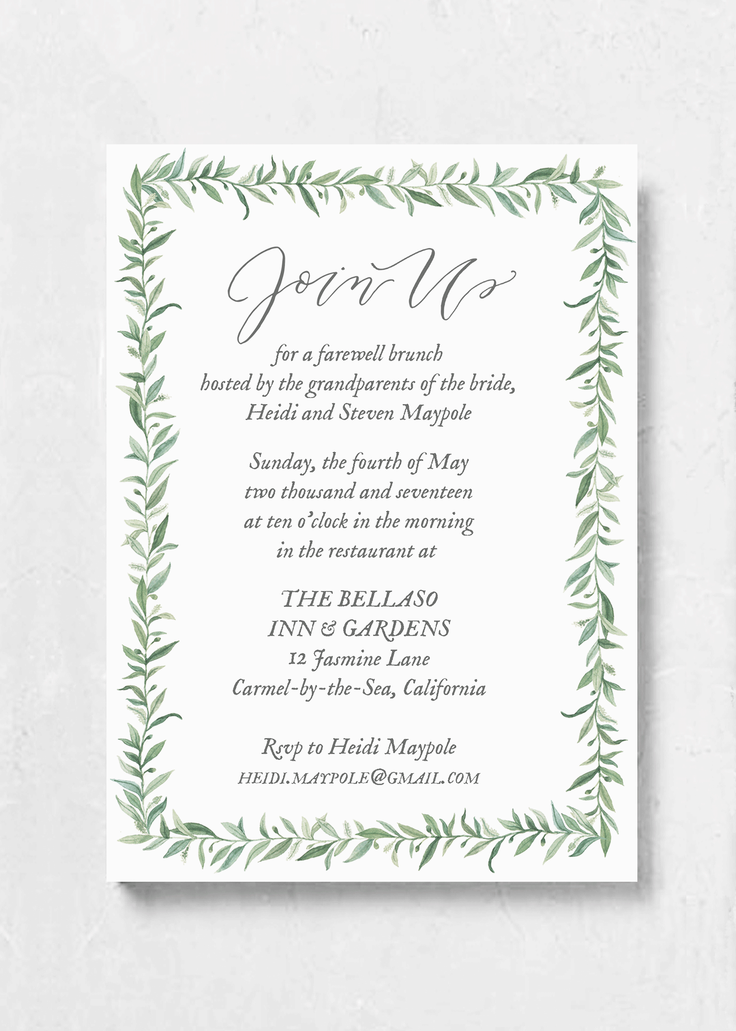 event invitation wild olive
