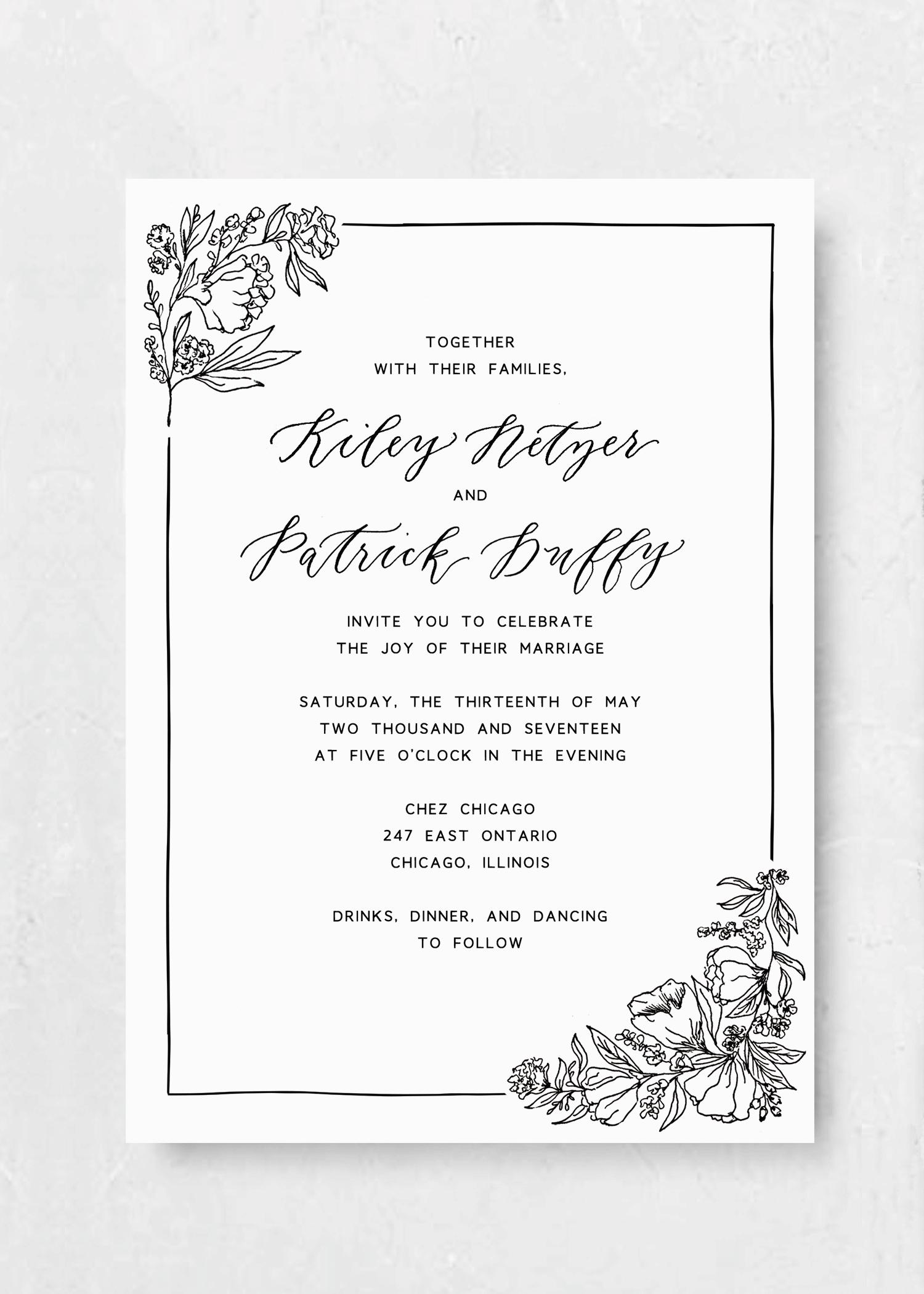 Sketchbook blooms invitation