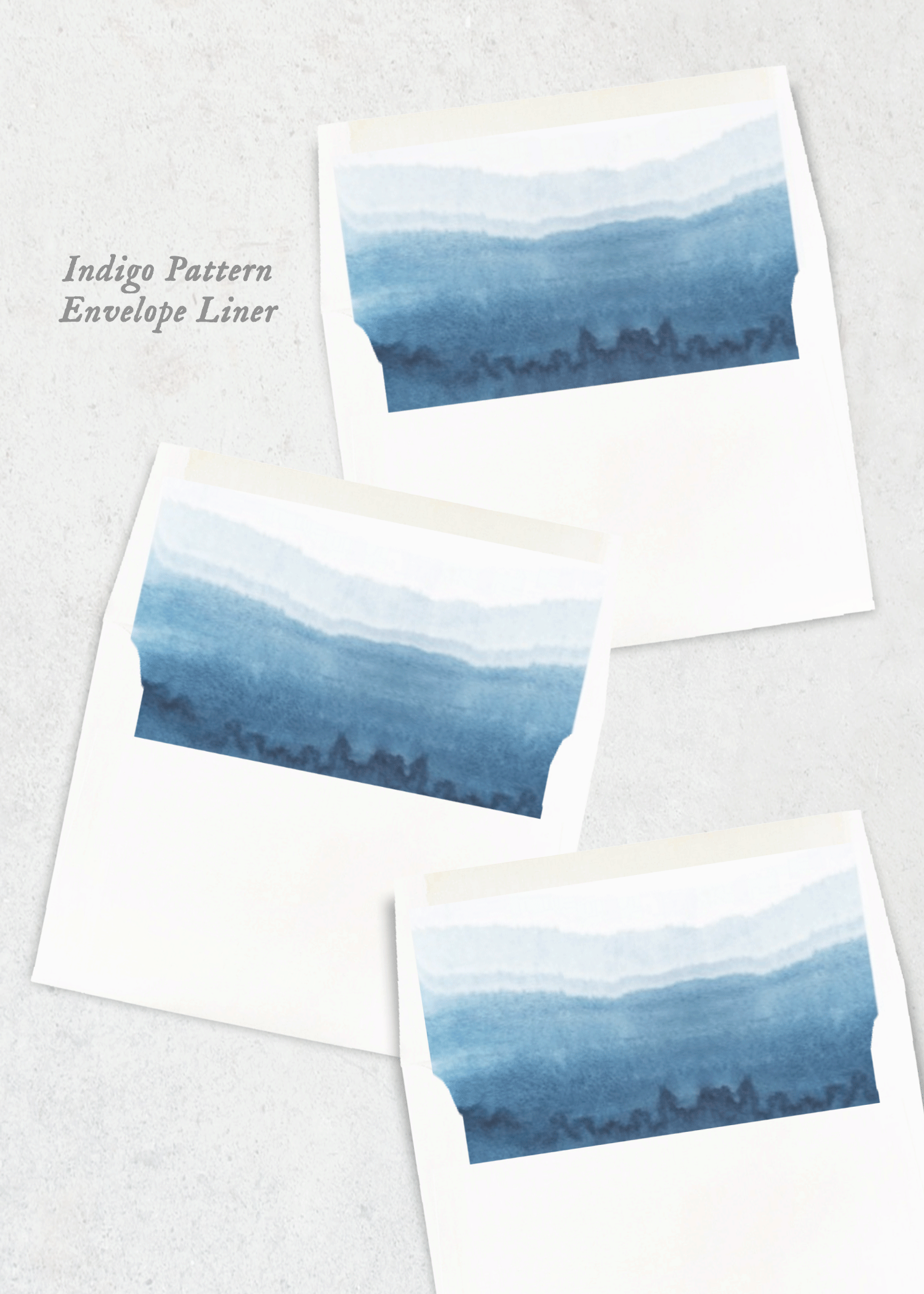 envelope liners indigo dip
