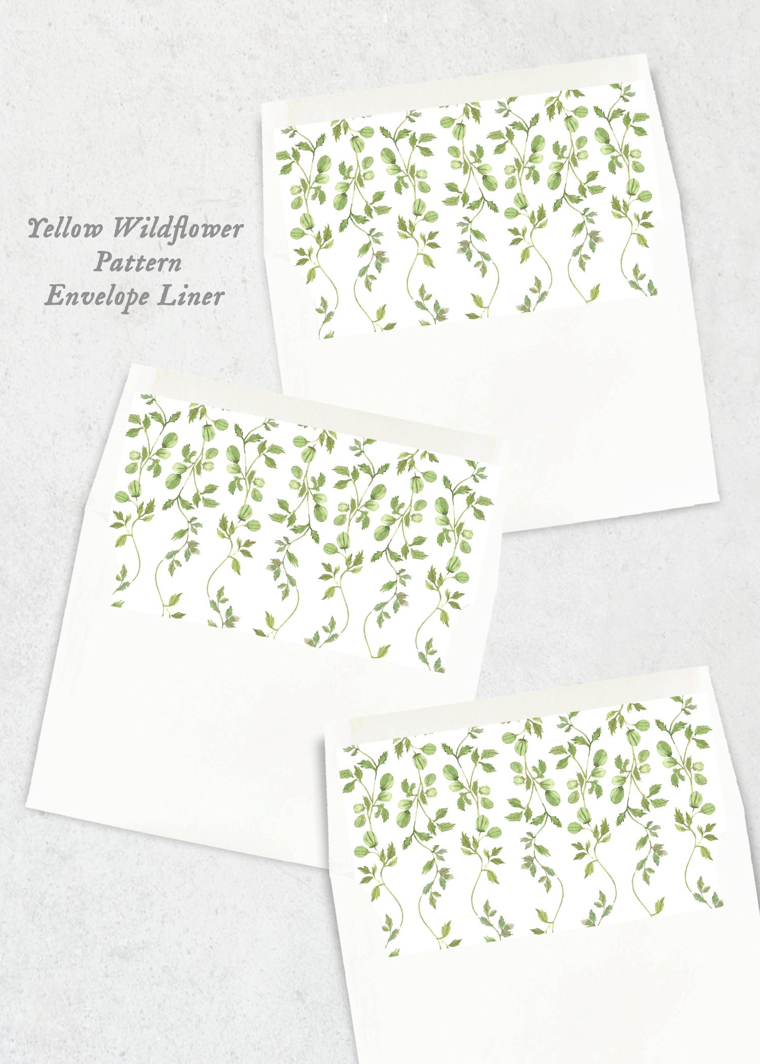 envelope liner yellow wildflower