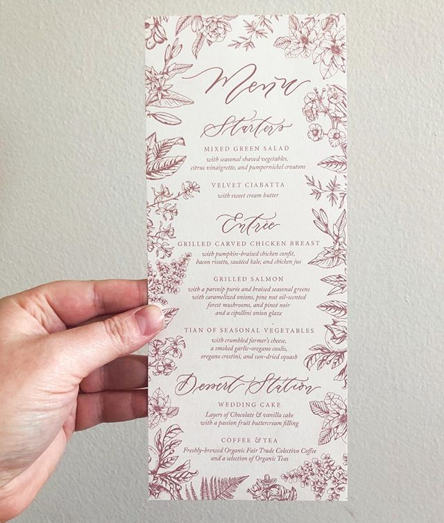 Our wedding menus were one of the last things I designed for our wedding. I knew it wasn't a necessity, but I like when I know what I'm eating at a wedding, and of course I wanted to do as many printed items as possible. We ran out of time to get them professionally printed the week before the wedding, so I printed them in house on our Canon Pixma ix6820 and my bridesmaids and assistant helped cut them all as we assembled the programs two days before the wedding. ... It's embarrassing to admit that I did so much last minute work on the wedding stationery, but truthfully, I underestimated how much other stuff I'd be dealing with the month before the wedding: last-minute dress fittings, last-minute cancellations, and oh yeah — the 8 September weddings that I was also designing stationery for leading up to my own wedding, including 3 the weekend before mine! (Why?!) I loved all those weddings and wouldn't have had it any other way, but now that I'm not a bride, I look back on last year and can't believe how insane my schedule was. This year, I'm taking on less custom work, paying for full-time help, and trying to devote time and energy to the friendships and relationships that I neglected last year when I was trying to fund and plan my own wedding (including, ironically, my relationship with my now-husband). ... Since I started my business after helping my sister DIY her own wedding, I know how much goes into planning these events, and how much of the work inevitably falls on the bride, no matter how evolved your feminist fiancé might think he is (did you know my sweet husband thought our wedding band cost $800?! 🤔 Now who do you think was the one managing our budget?). I always try to keep that in mind and to sympathize with my clients as they navigate this stressful period of time, and to remind them to be excited about it too! Because even though I designed these menus three days before my wedding, it was fun, and I loved them, and it was worth it.