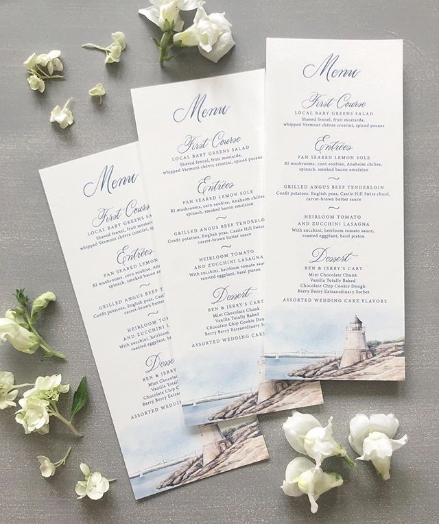 These menus that we created for Susanna and Kit's seaside wedding at @castlehillinn in Rhode Island last weekend were one of my favorite menus of the year! I love the watercolor painting I did of the lighthouse at Castle Hill; it was just one of those times that the paint flowed effortlessly off the brush. More to come soon from this wedding...I really loved the classic feel of it, mixed with the light and airy watercolors and gray, blue, and green color palette. I also happened to know several of the guests at this wedding, one of whom is one of our 2020 Vermont wedding clients (totally a coincidence!), so this one was particularly fun for me. Nothing is better than getting texts in real time from guests halfway across the country who are marveling at your work 🥰 🐚 ⛵️