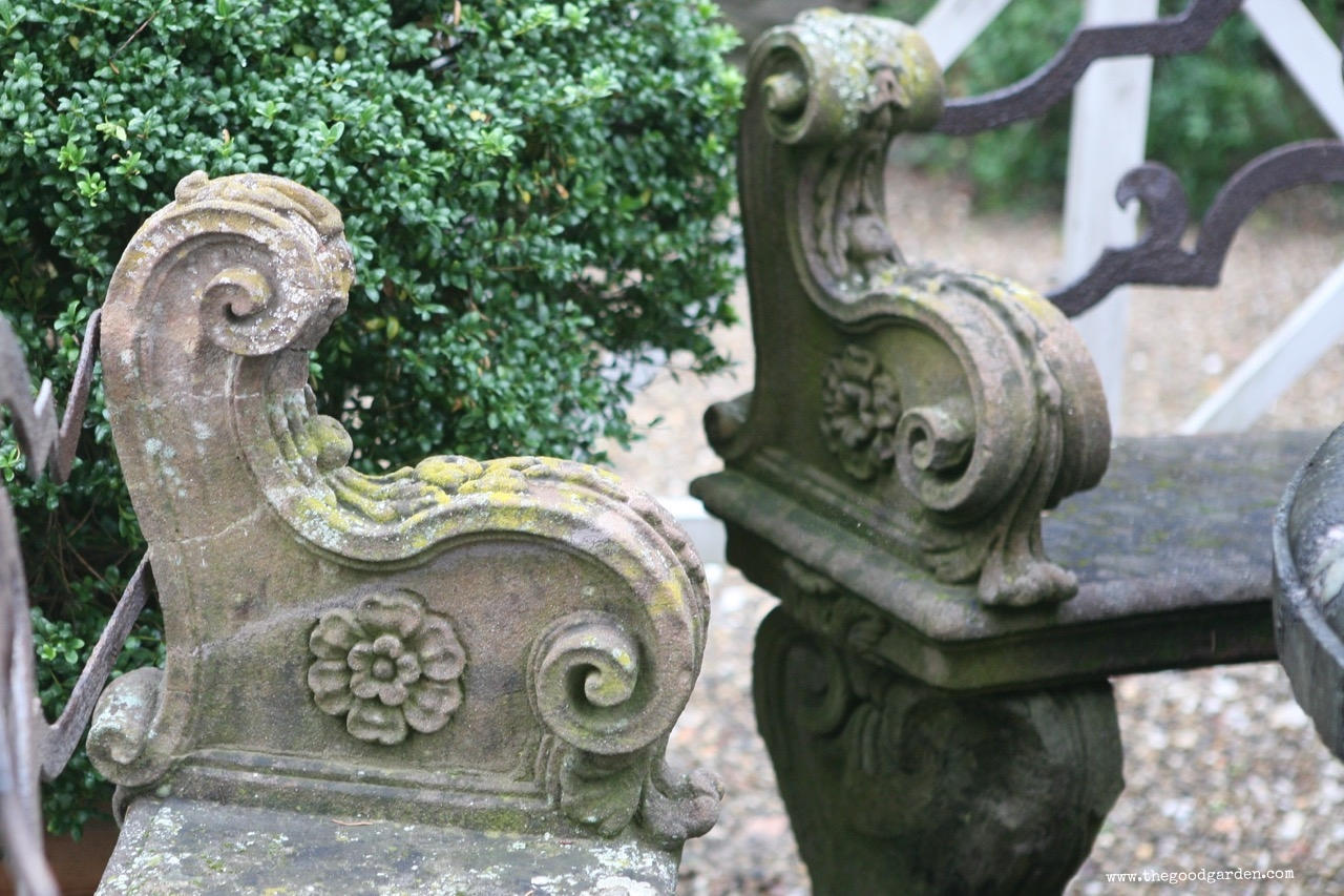 Stone bench detail from Villa Bardini, Florence, Italy.