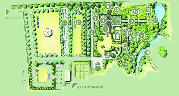 Garden Map of Giardini della Landriana showing a series of garden rooms in the arts and crafts style.   Source:    http://www.aldobrandini.it/sito/giardi/tour.shtml