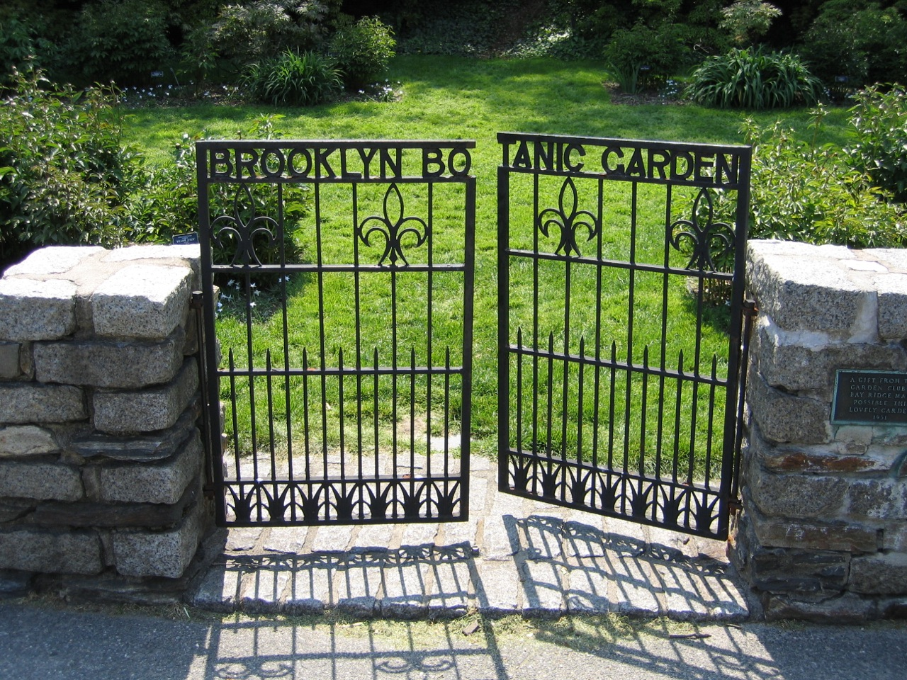 The old iron gate to the Peony Garden at the Brooklyn Botanical Garden, NY.